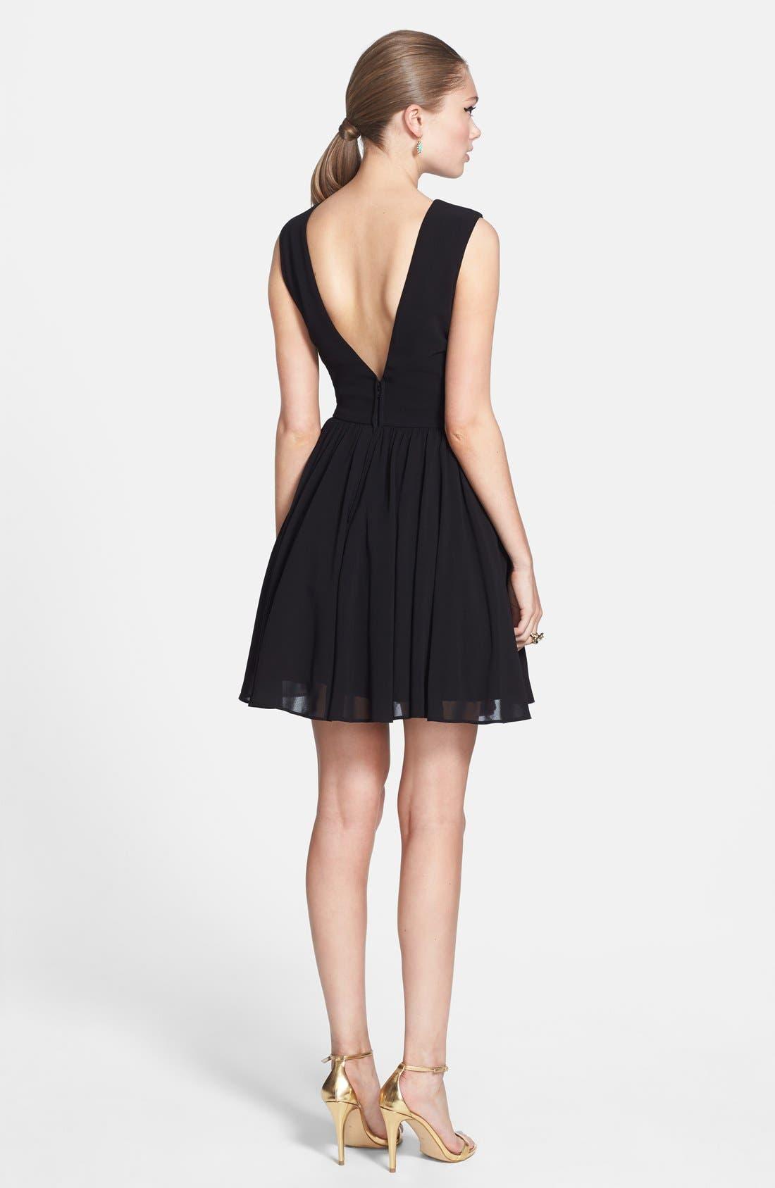 Alternate Image 2  - Way-In Embellished Yoke V-Back Fit & Flare Dress (Online Only)