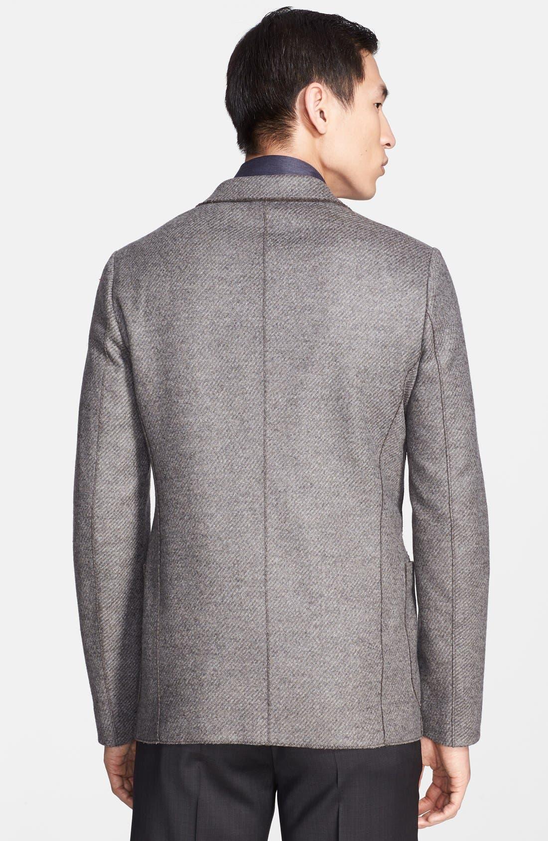 Alternate Image 2  - Armani Collezioni Light Grey Raw Edge Wool Blend Sport Coat