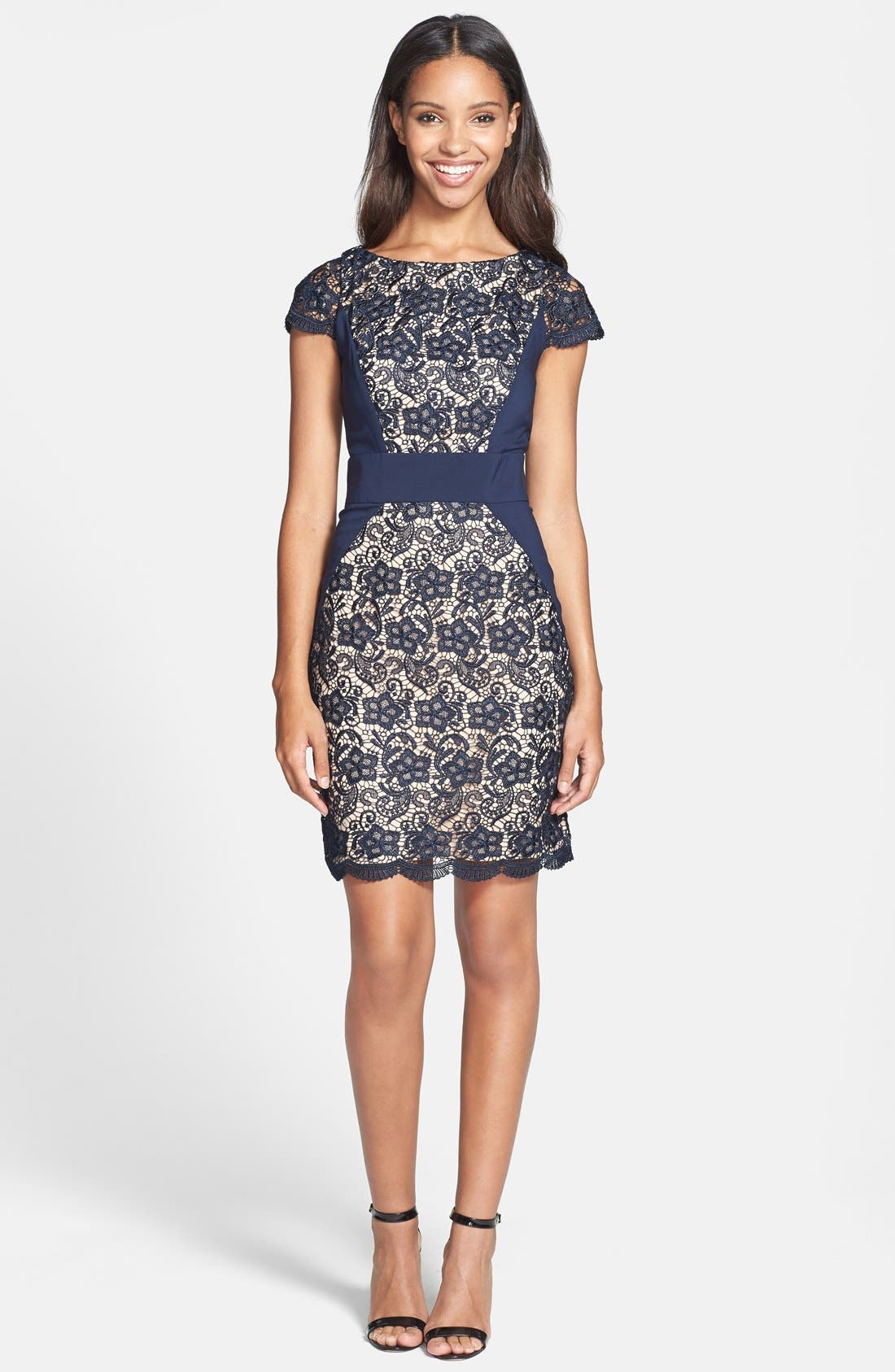 Alternate Image 3  - Jessica Simpson Contrast Panel Lace Sheath Dress