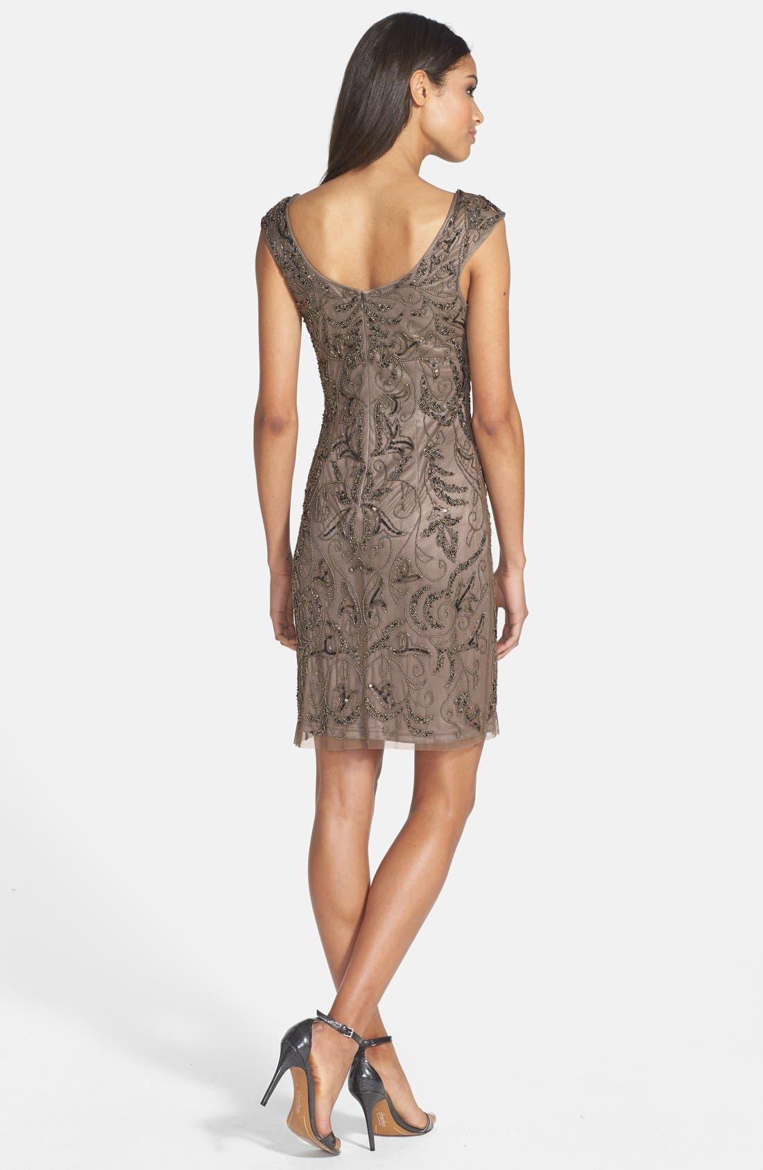 Alternate Image 2  - Adrianna Papell Beaded Mesh Dress (Regular & Petite)