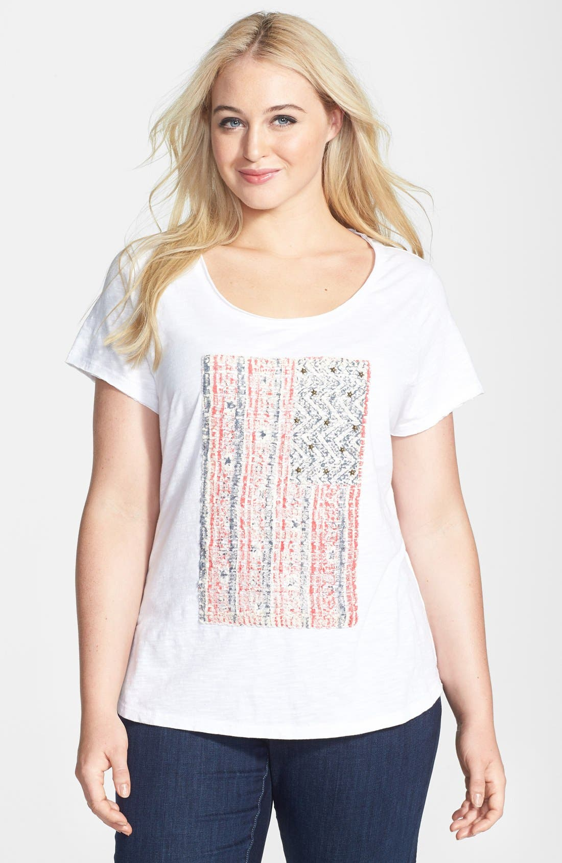 Alternate Image 1 Selected - Lucky Brand Embellished Flag Tee (Plus Size)