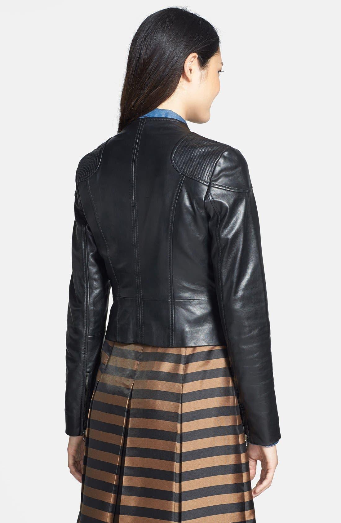 Alternate Image 2  - Halogen® Zip Detail Leather Jacket