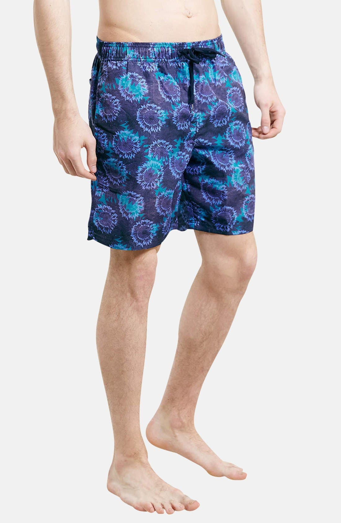 Main Image - Topman Floral Print Swim Trunks