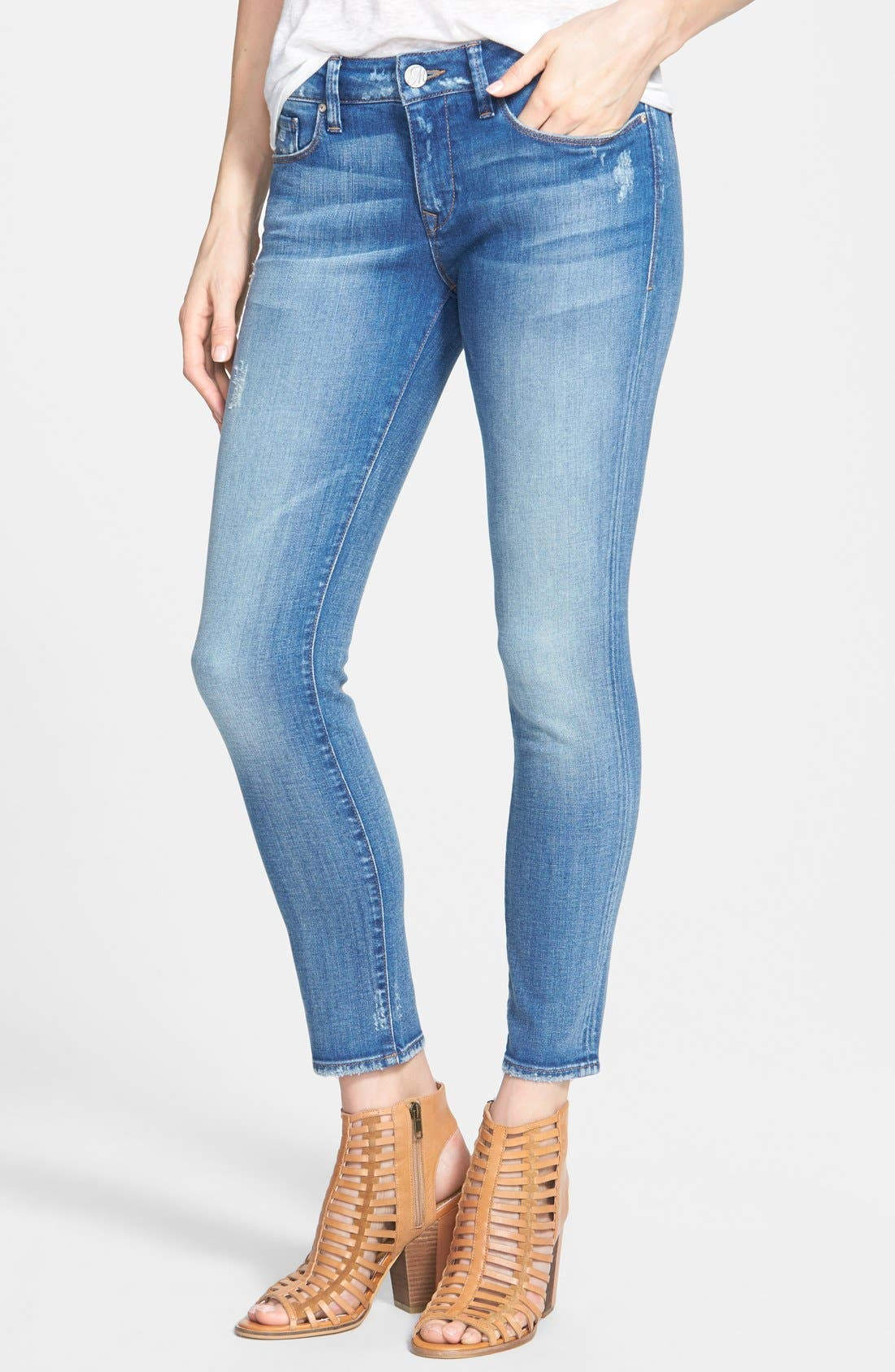Alternate Image 1 Selected - Mavi Jeans 'Alexa' Distressed Ankle Skinny Jeans (Blue)