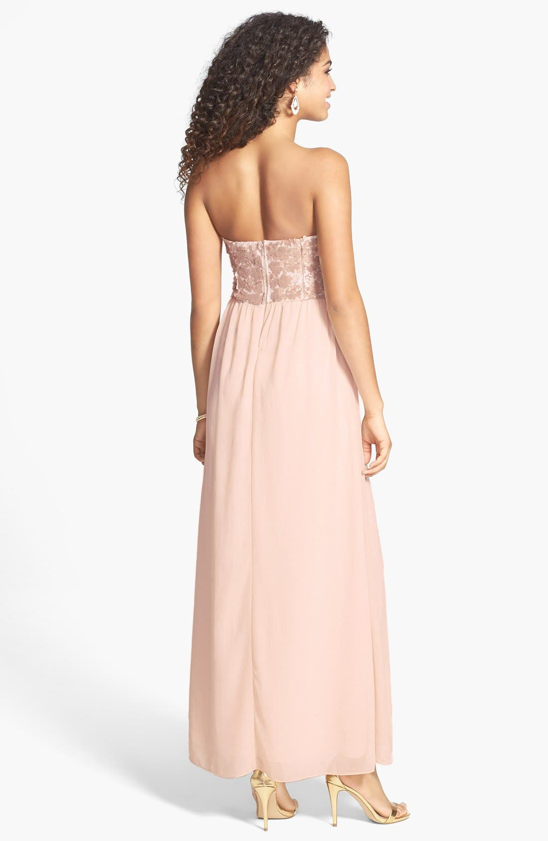 Alternate Image 2  - a. drea Sequin Bodice Strapless Gown (Juniors)