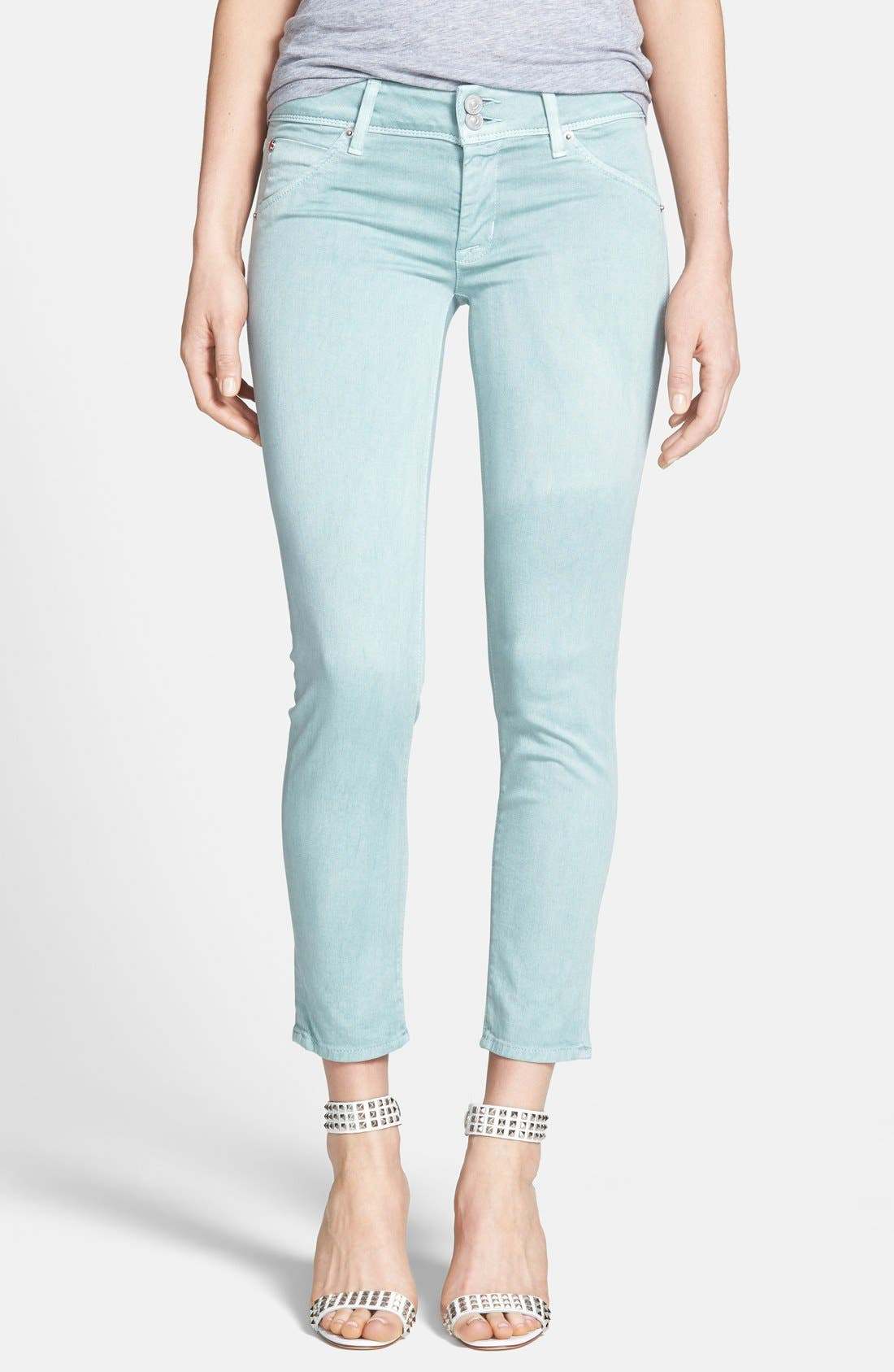 Main Image - Hudson Jeans 'Collin' Crop Skinny Jeans (Dusty Pistachio)