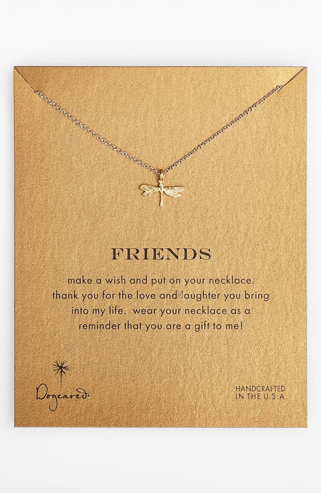 Main Image - Dogeared 'Reminder - Friends' Boxed Dragonfly Pendant Necklace