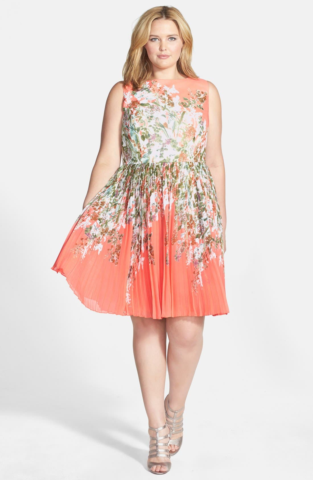Main Image - Adrianna Papell Floral Print Pleat Chiffon Fit & Flare Dress (Plus Size)
