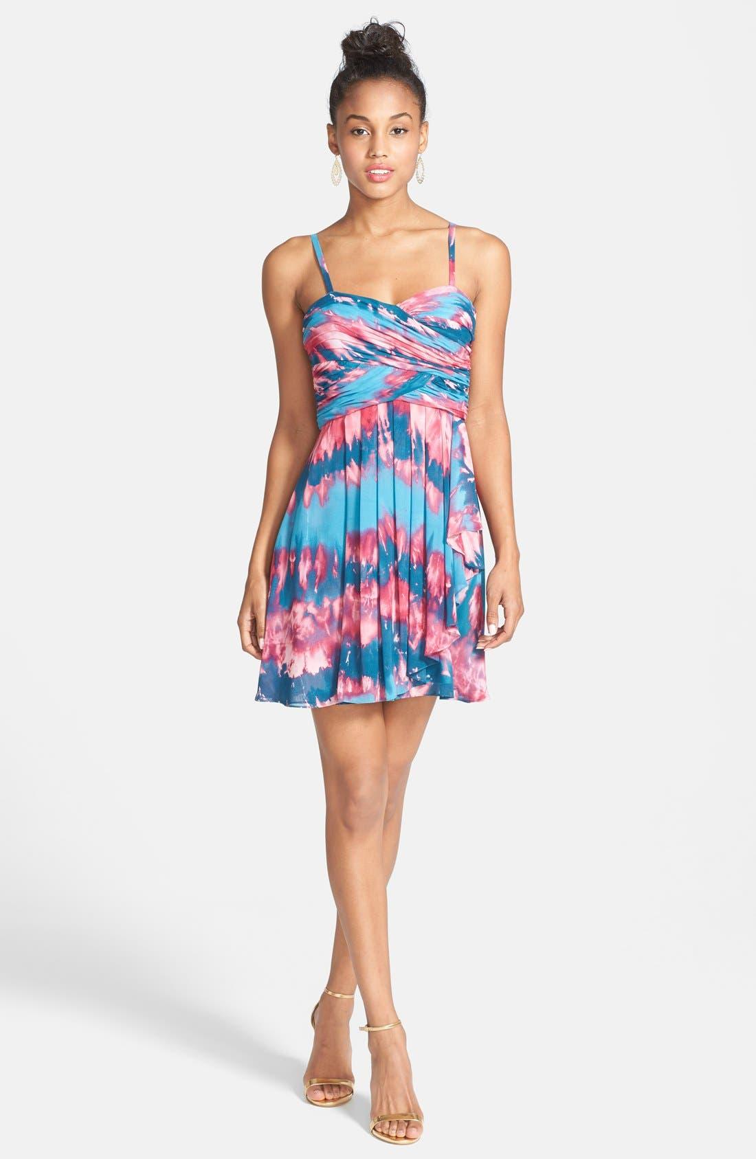 Alternate Image 3  - Hailey Logan Tie Dye Chiffon Skater Dress (Juniors)