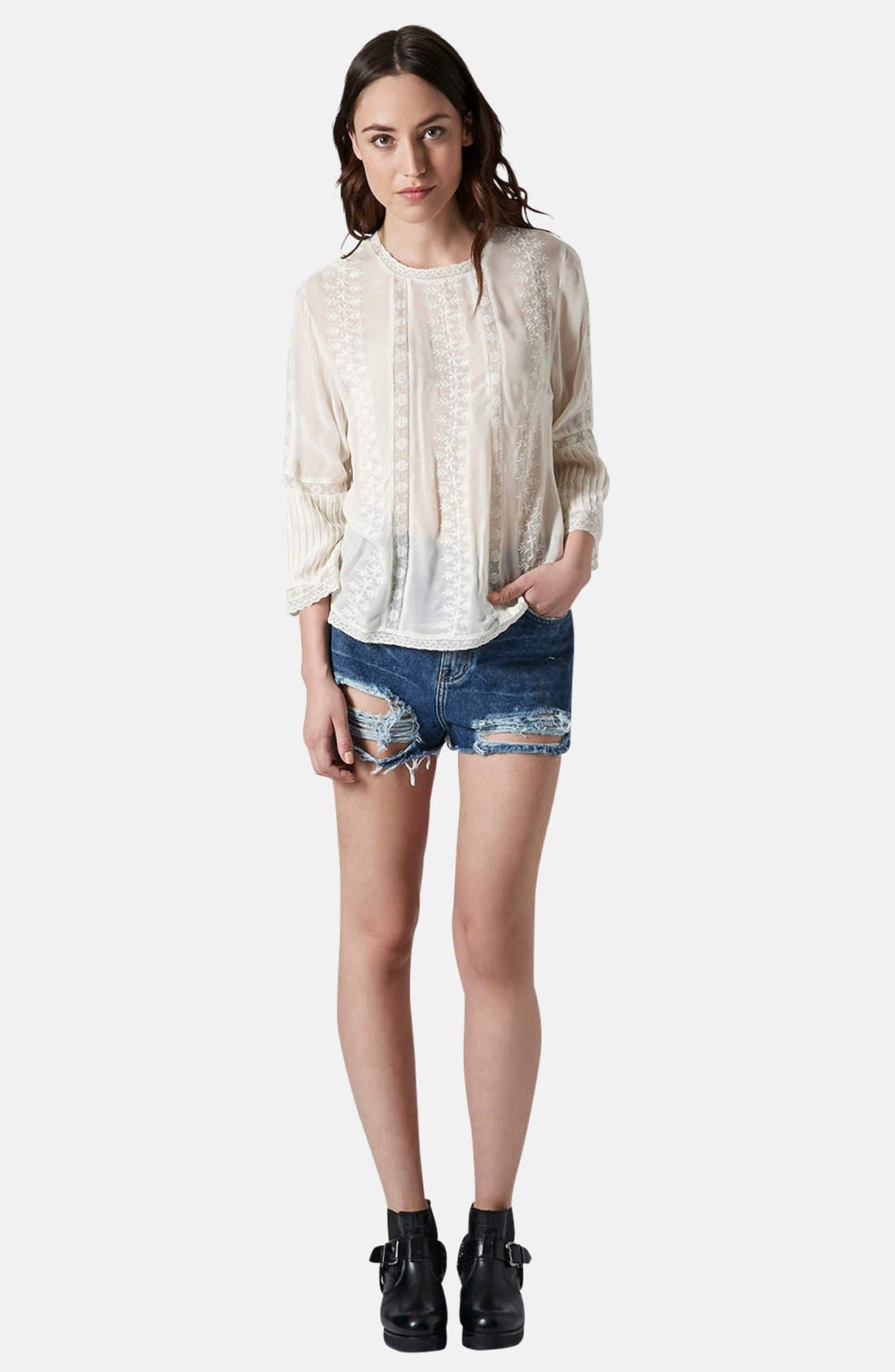 Alternate Image 5  - Topshop Embroidered Blouse