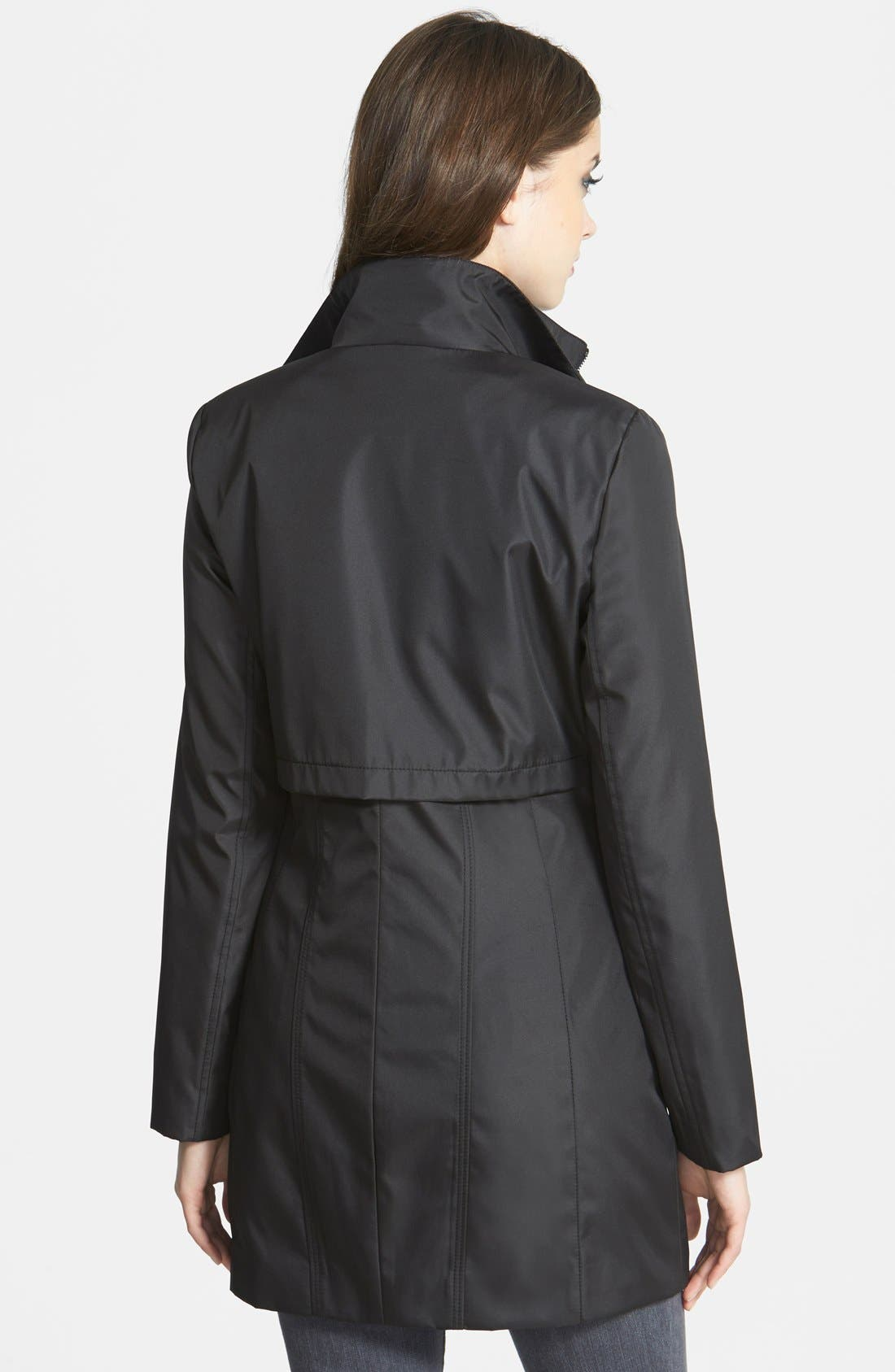 Alternate Image 2  - Marc New York Faux Leather Trim Rain Jacket with Removable Bib (Online Only)