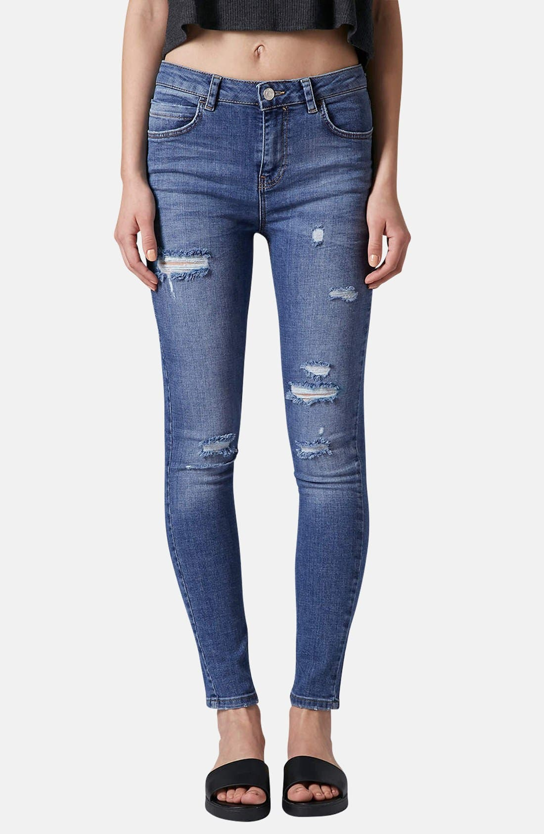 Main Image - Topshop Moto Destroyed Skinny Jeans (Mid Denim) (Short & Regular)