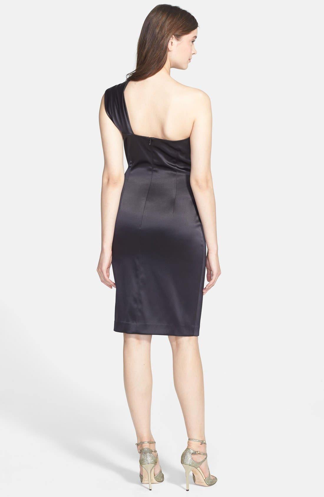 Alternate Image 2  - Eliza J Beaded One-Shoulder Satin Dress (Regular & Petite)