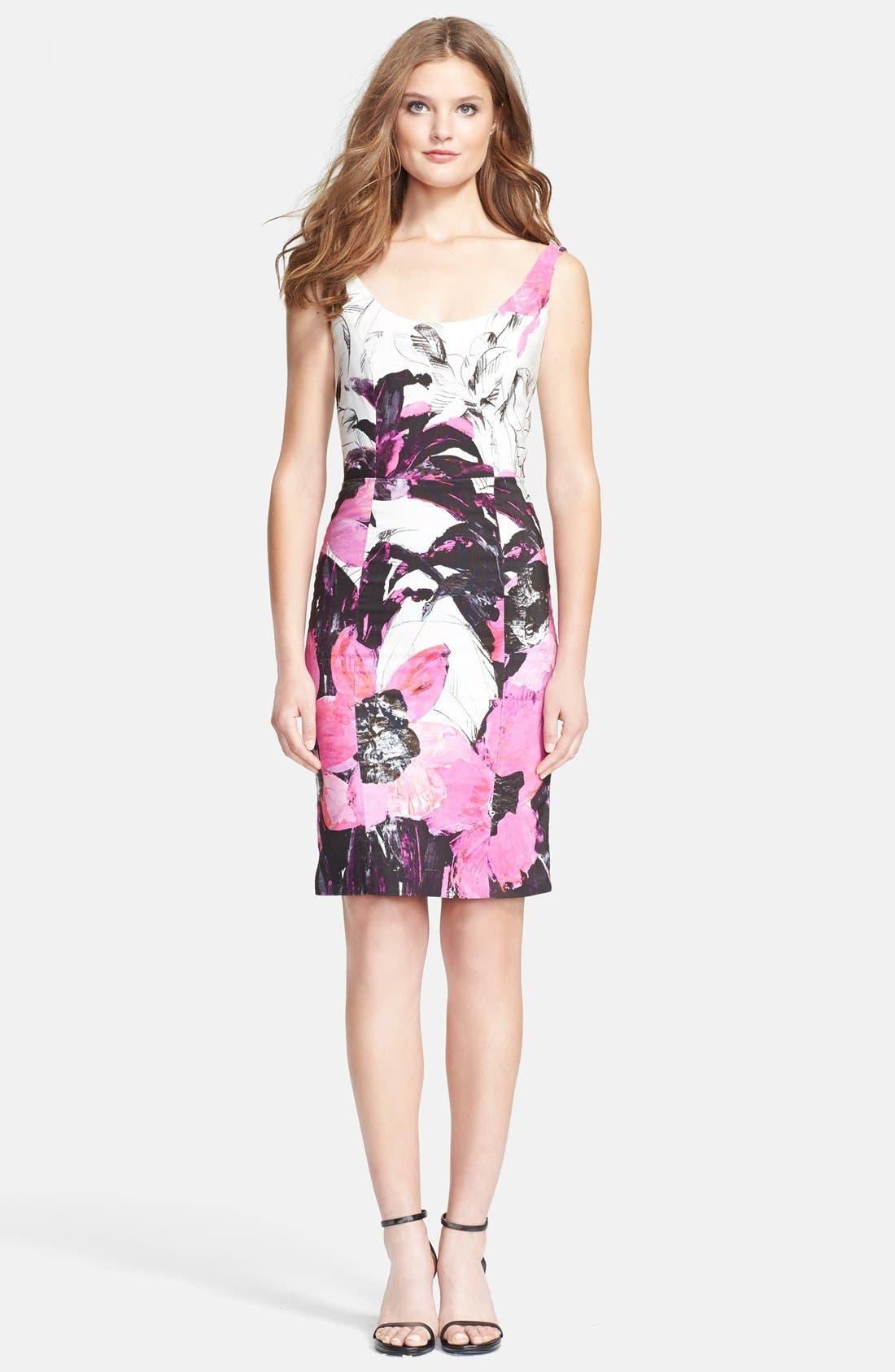 Main Image - Milly 'Winter Orchid Sophia' Print Faille Sheath Dress