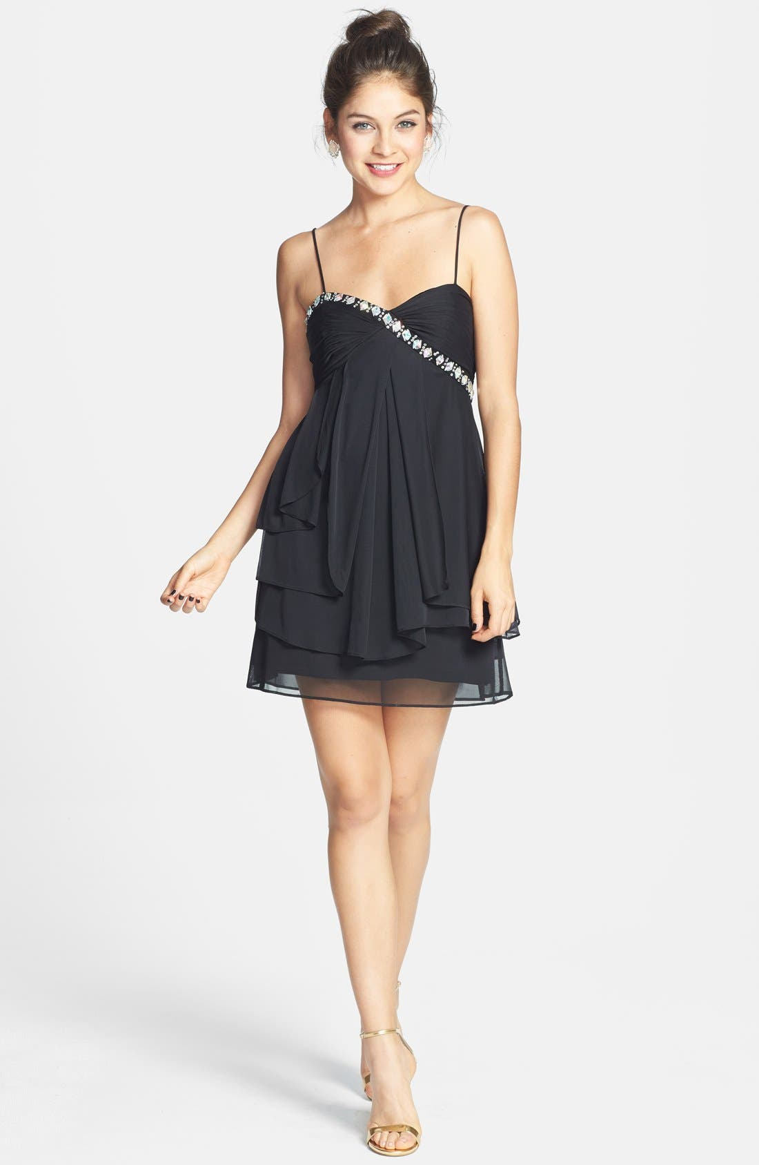 Alternate Image 1 Selected - Hailey Logan Embellished Ruffle Party Dress (Juniors)