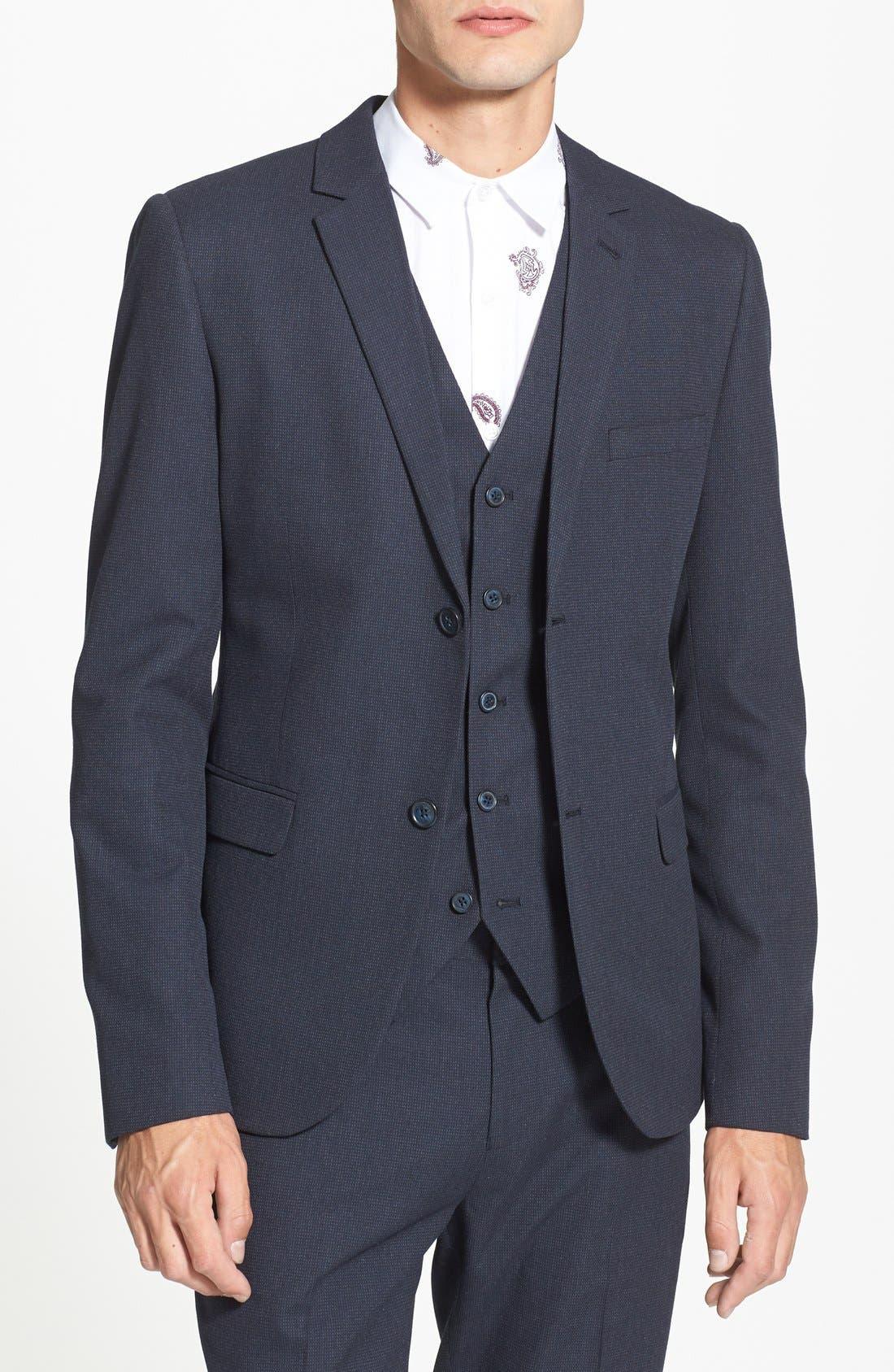 Main Image - Topman Navy Pin Dot Skinny Fit Suit Jacket