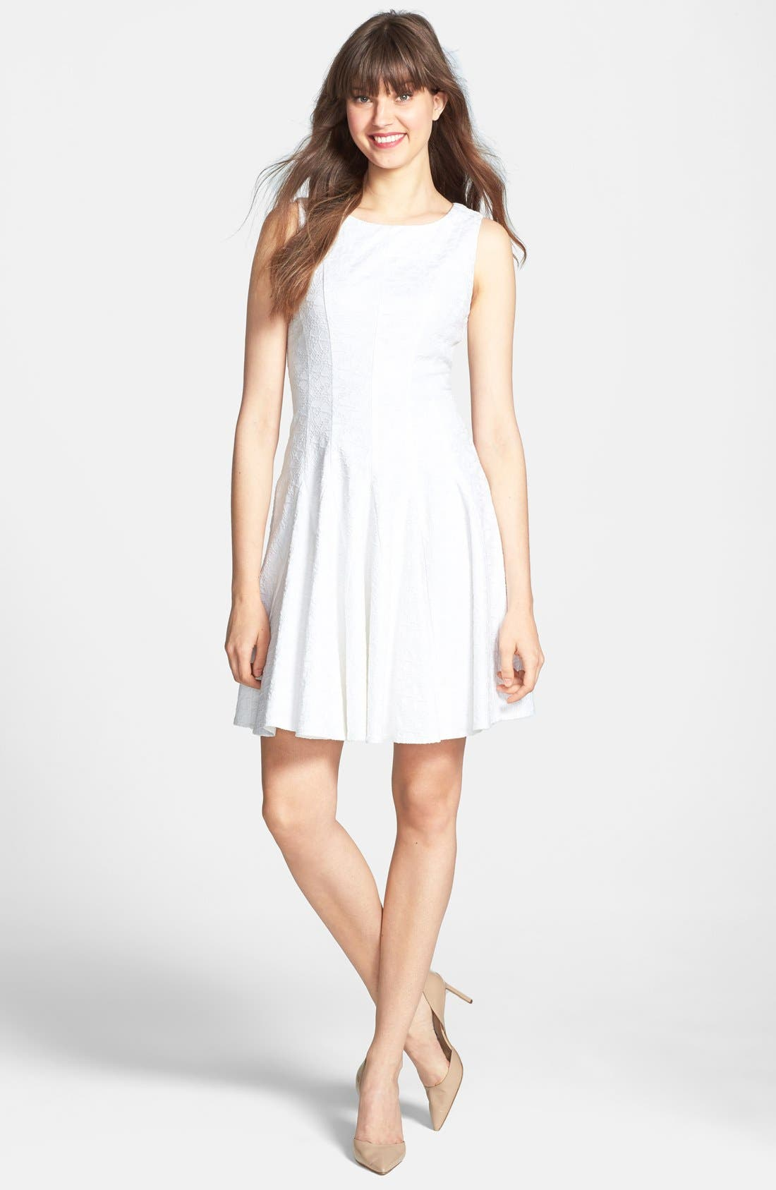 Alternate Image 3  - Eliza J Jacquard Cotton Blend Fit & Flare Dress