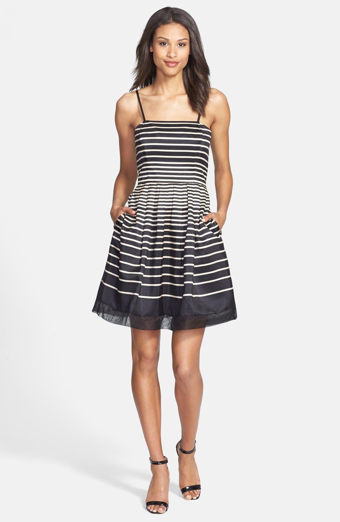 Alternate Image 3  - Taylor Dresses Stripe Shantung Fit & Flare Dress