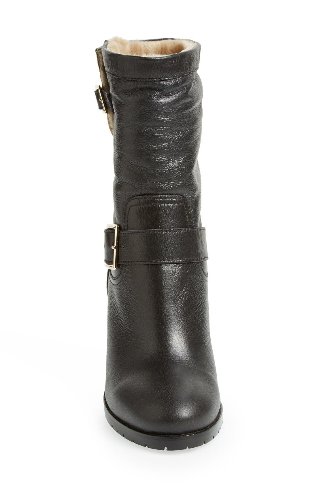 Alternate Image 3  - Jimmy Choo 'Dart' Leather & Genuine Shearling Mid Calf Moto Boot (Women)