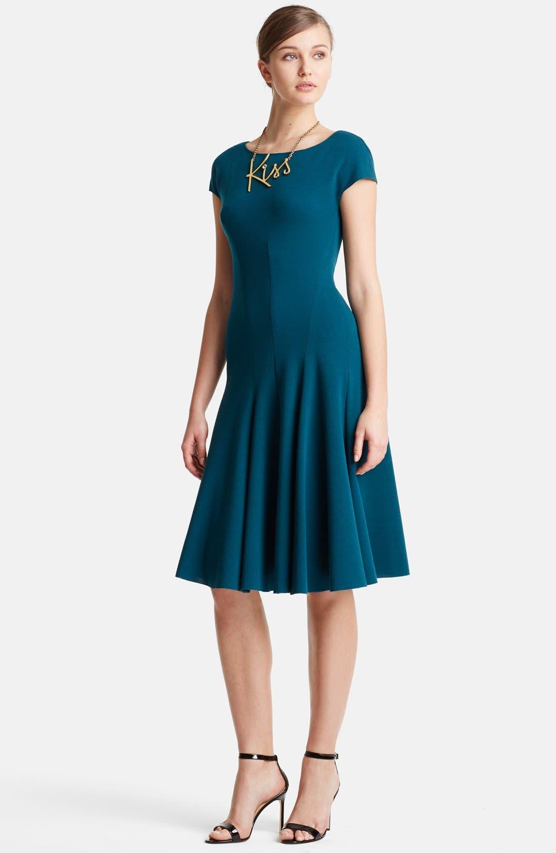 Main Image - Lanvin Cap Sleeve Wool Jersey Fit & Flare Dress