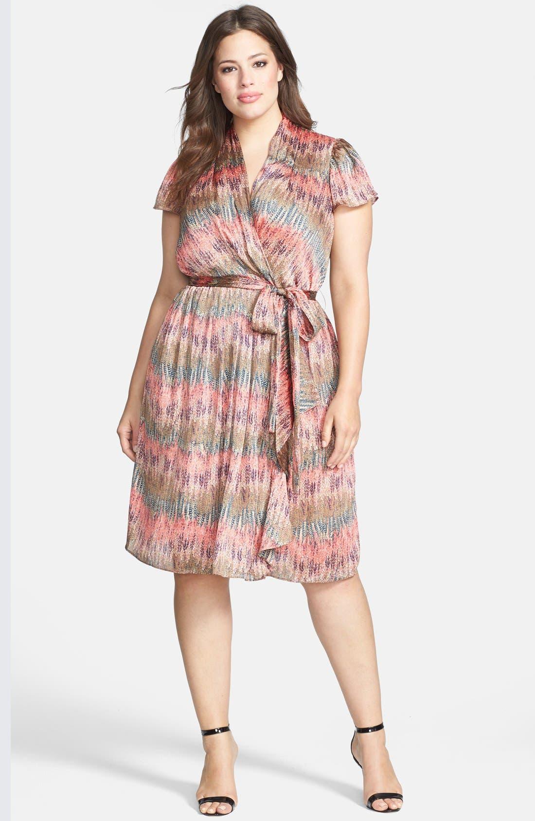 Main Image - Donna Ricco Print Flutter Sleeve Faux Wrap Dress (Plus Size)