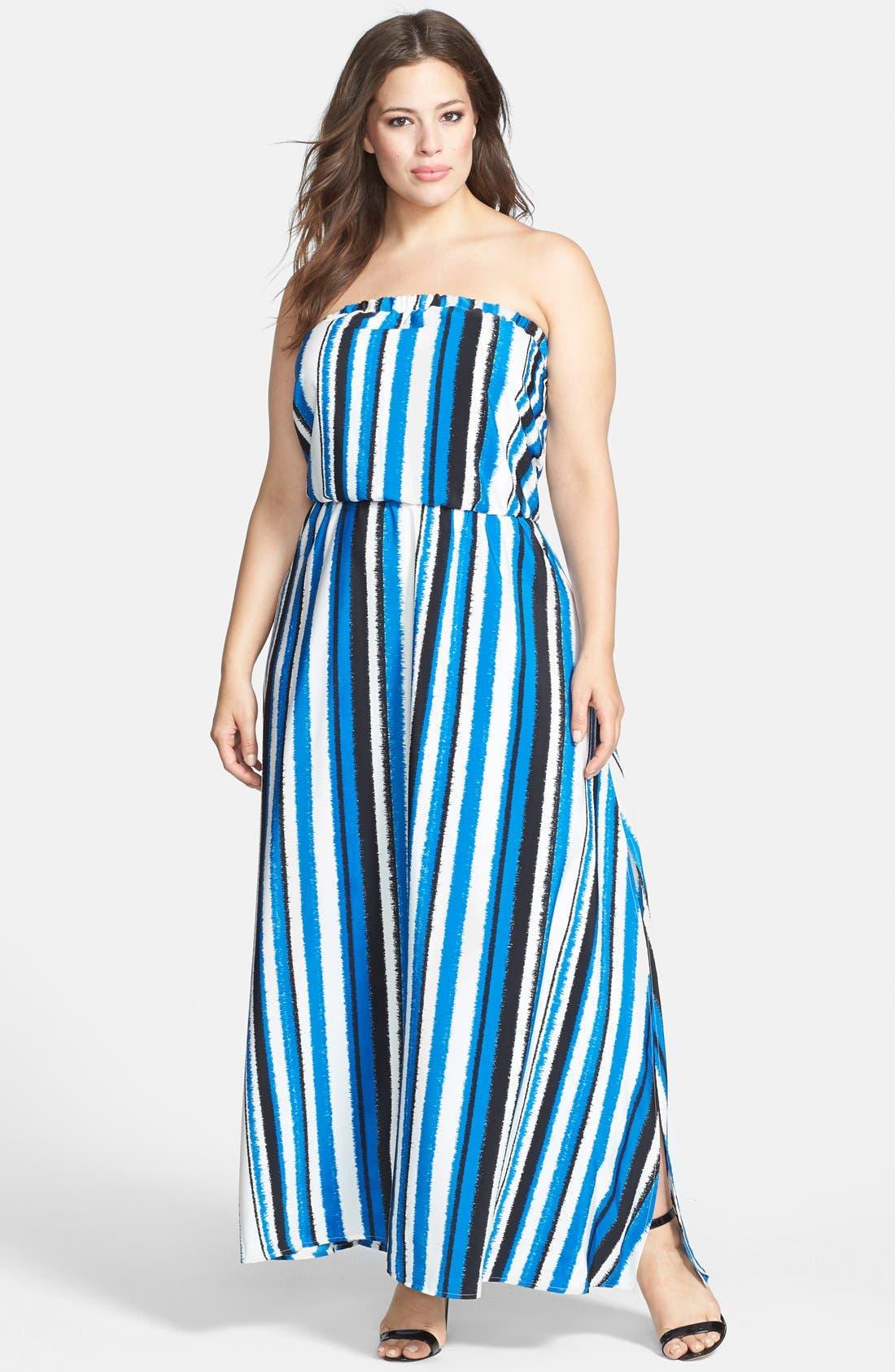 Main Image - BB Dakota 'Zaida' Strapless Maxi Dress (Plus Size)