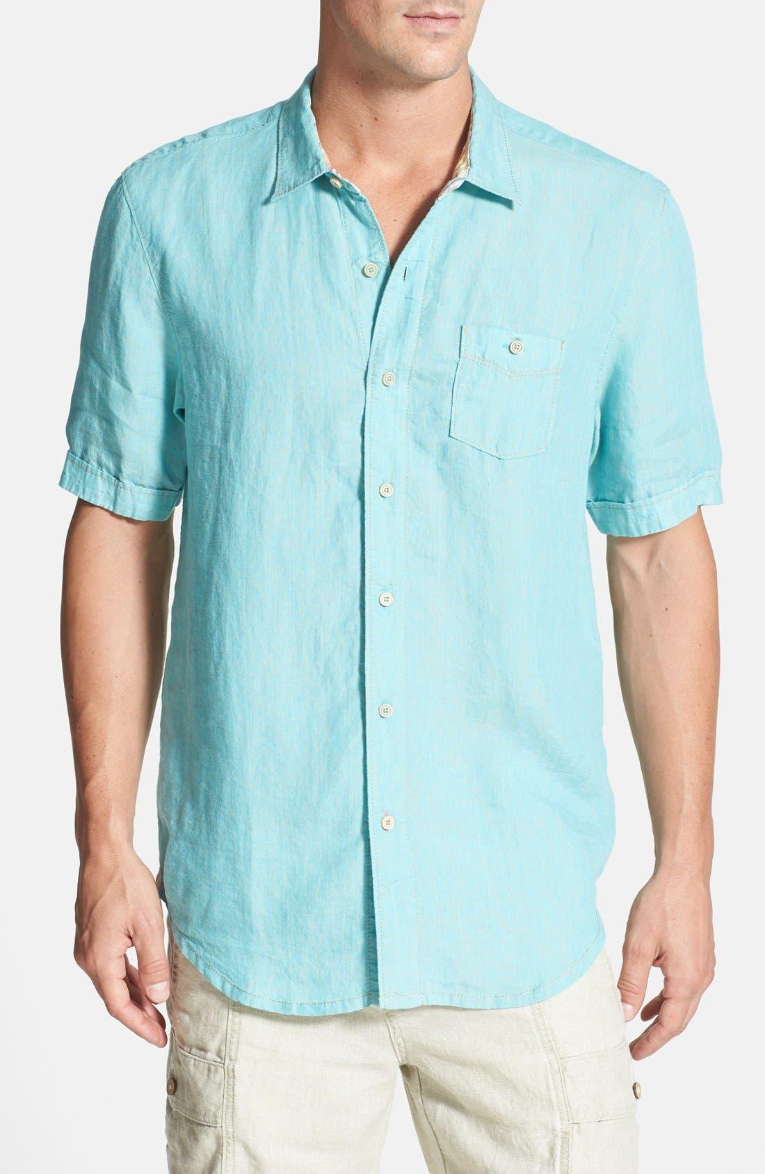Alternate Image 1 Selected - Tommy Bahama 'Party Breezer' Short Sleeve Linen Sport Shirt