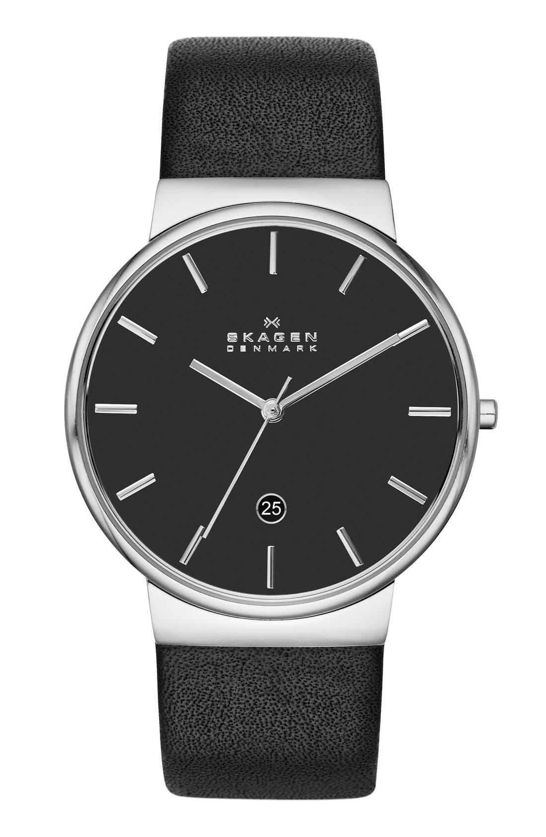 Alternate Image 1 Selected - Skagen 'Ancher' Round Leather Strap Watch, 40mm