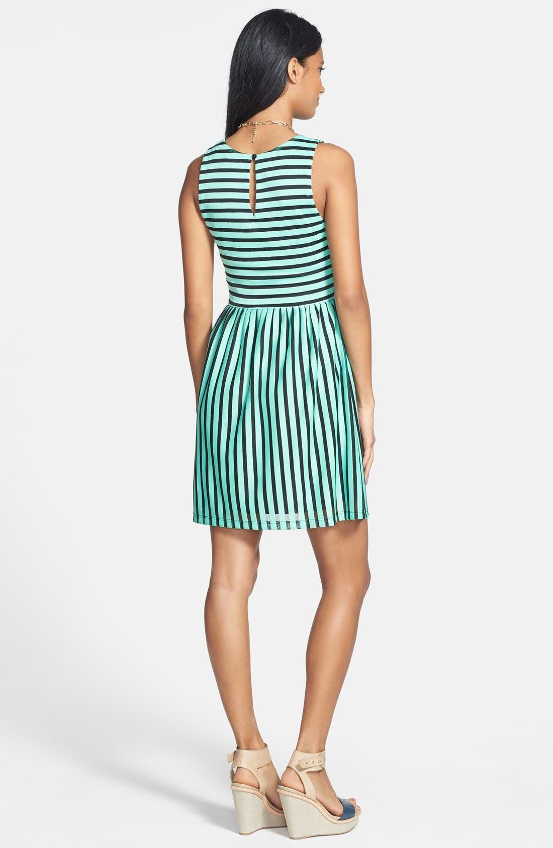 Alternate Image 2  - Everly Stripe Skater Dress (Juniors)