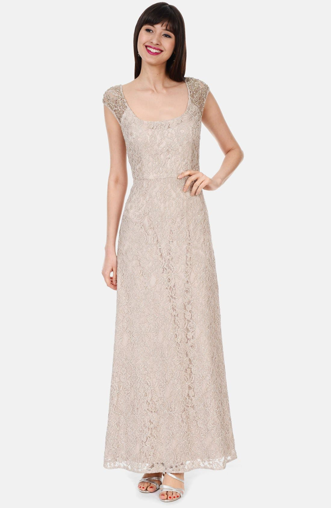 Alternate Image 1 Selected - Kay Unger Embellished Cap Sleeve Lace Gown