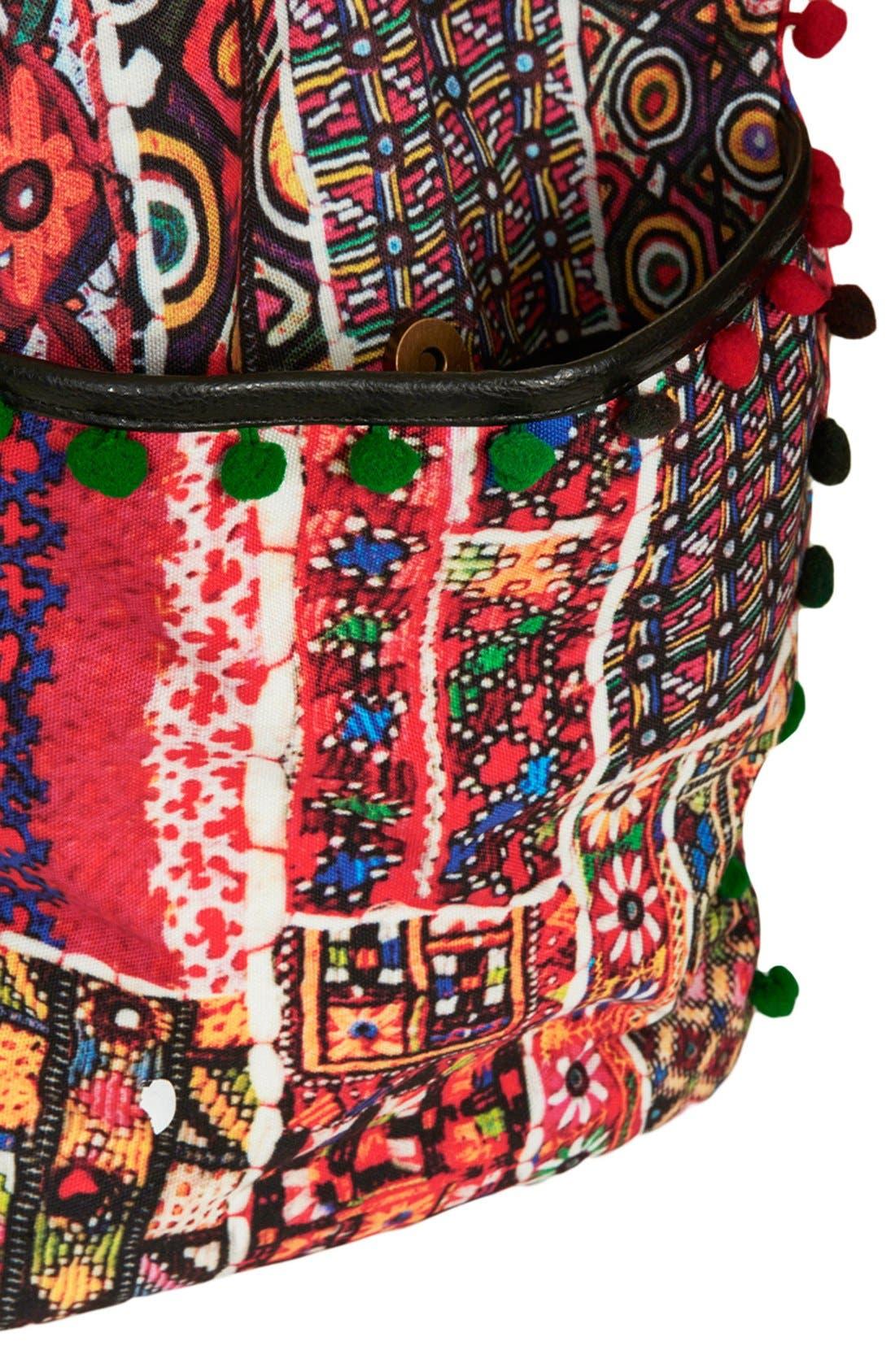 Alternate Image 3  - Topshop 'Cuzco' Pompom Trim Embroidered Tote
