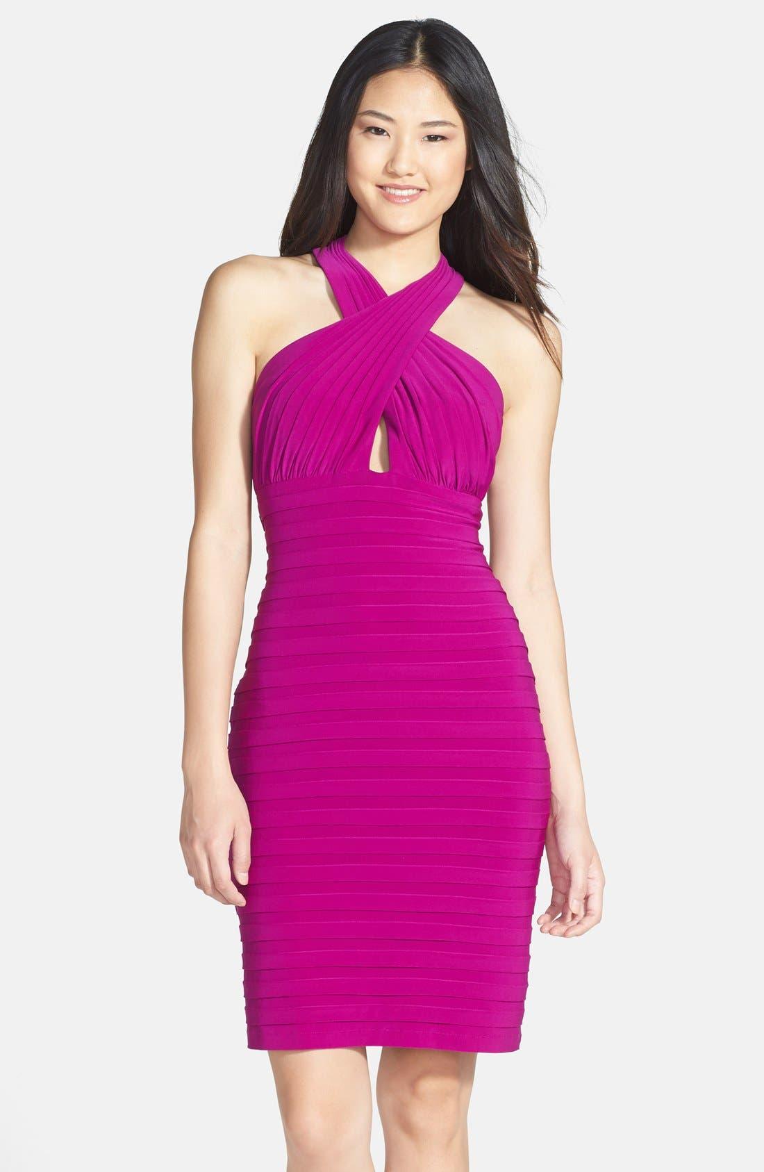 Main Image - Xscape Shutter Pleated Jersey Sheath Dress