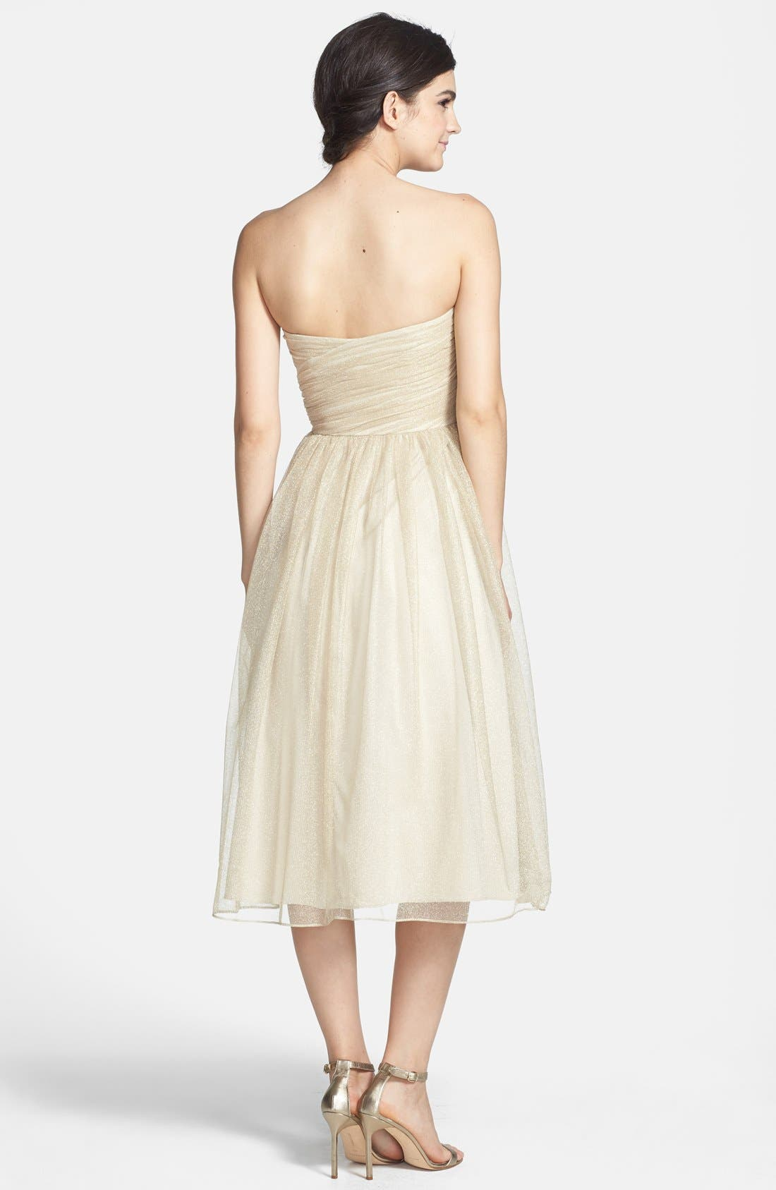 Alternate Image 2  - Aidan Mattox Ruched Metallic Tea Length Tulle Fit & Flare Dress