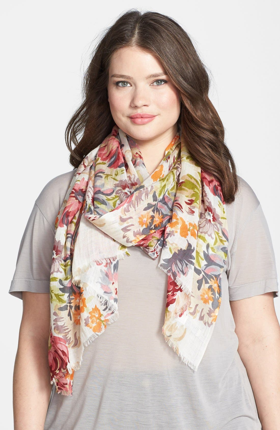 Alternate Image 1 Selected - Lucky Brand Floral Print Modal Scarf
