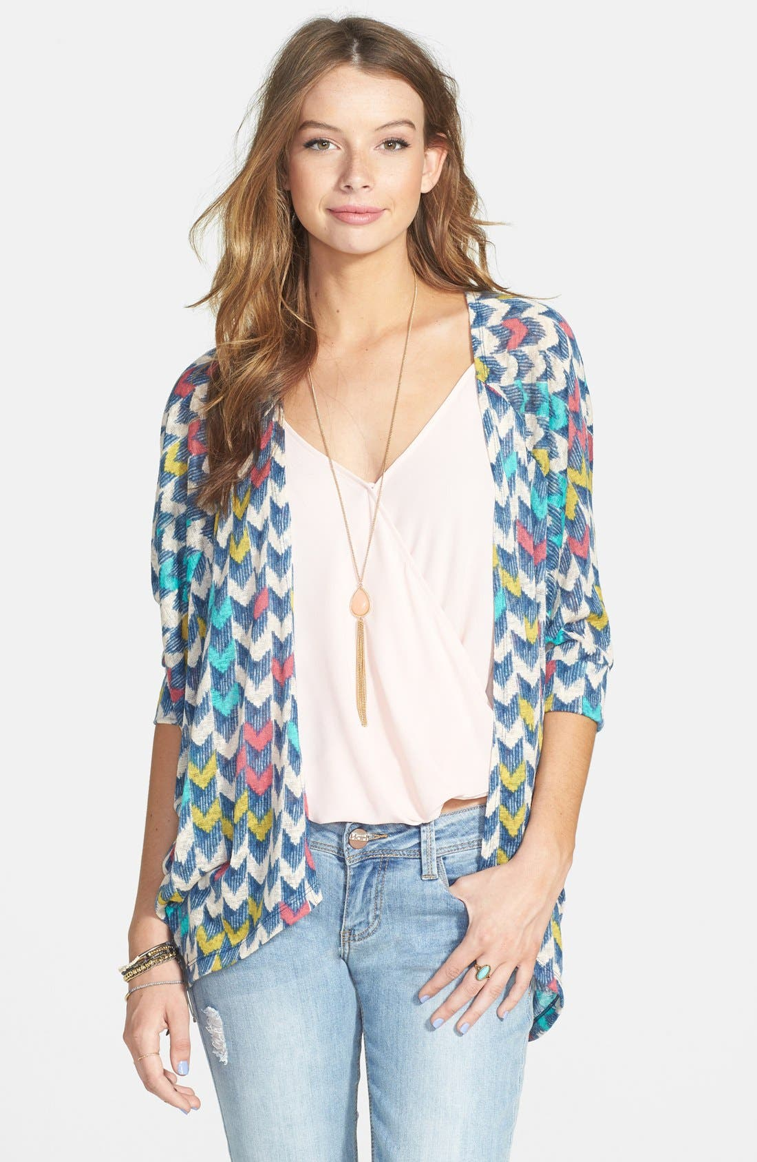 Alternate Image 1 Selected - Painted Threads Dolman Sleeve Knit Cardigan (Juniors)