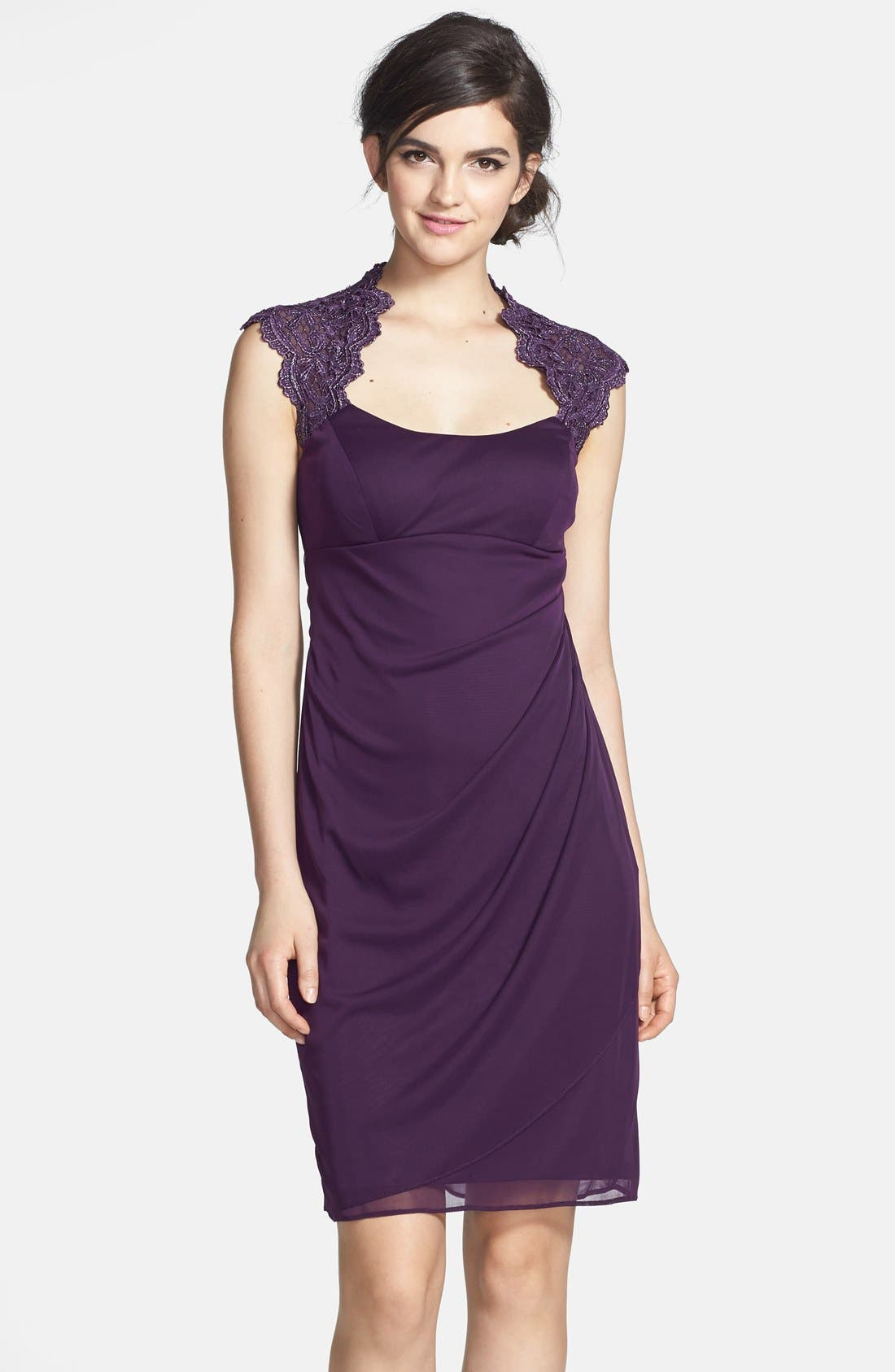Alternate Image 1 Selected - Xscape Chemical Lace & Jersey Ruched Sheath