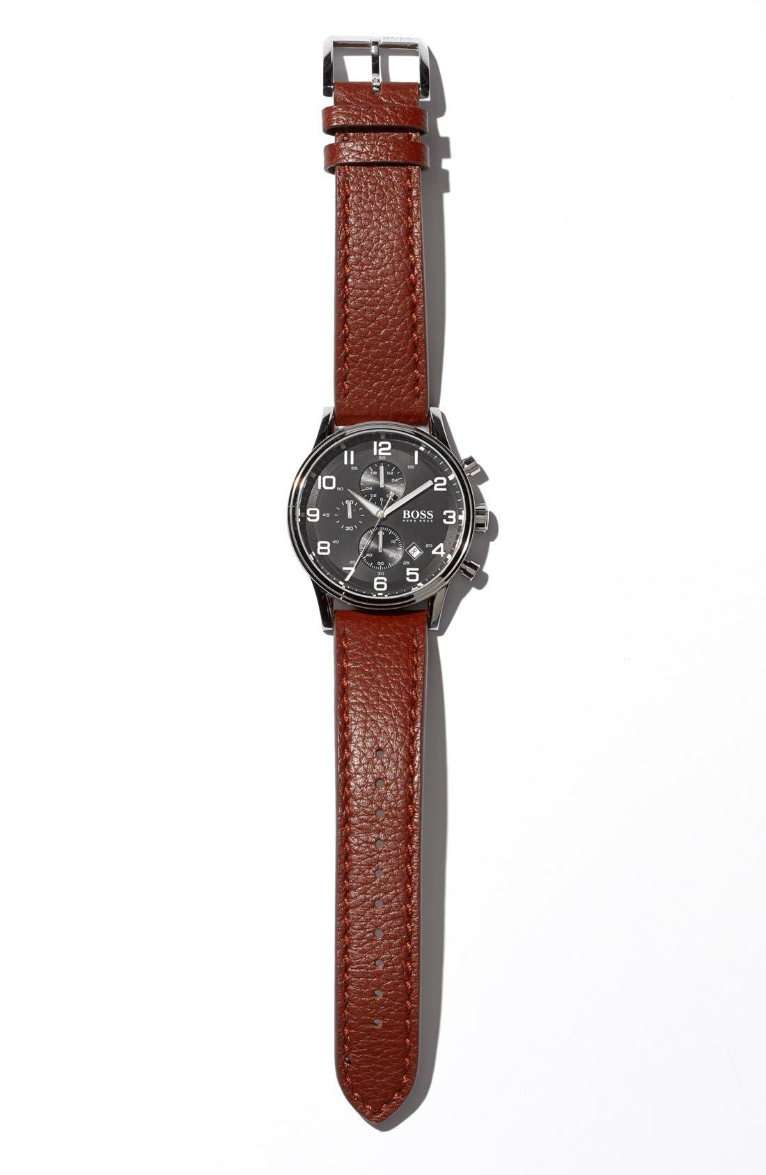 Alternate Image 4  - BOSS 'Aviator' Chronograph Leather Strap Watch, 44mm