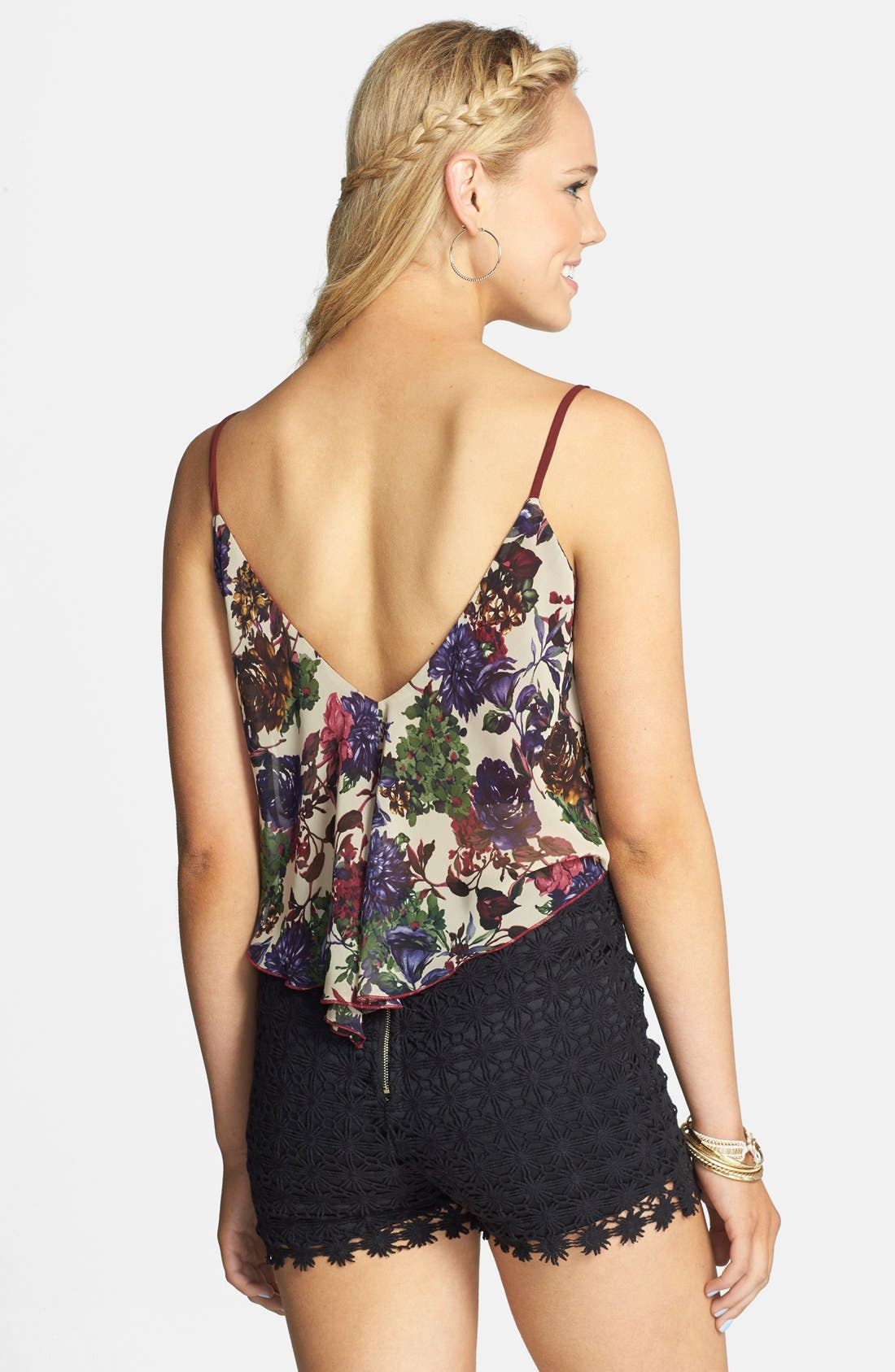 Alternate Image 2  - Lovely Day Floral Crop Tank (Juniors)