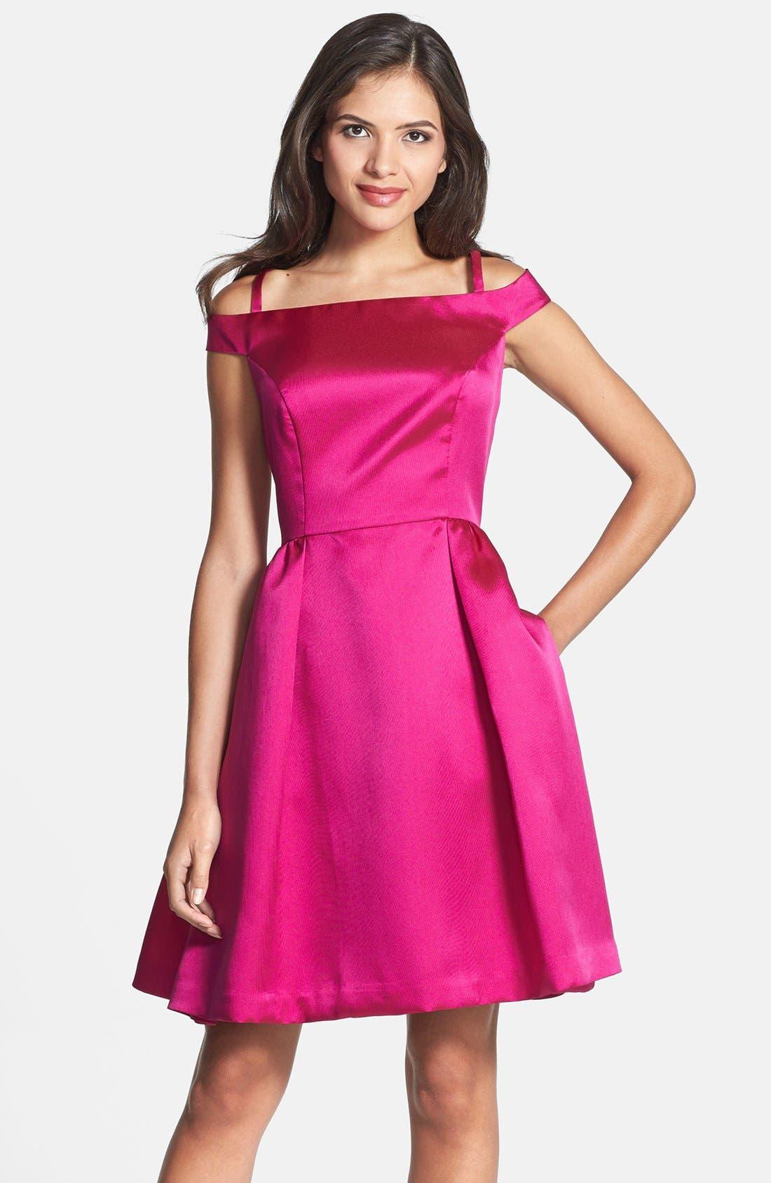Alternate Image 1 Selected - Isaac Mizrahi New York Off Shoulder Mikado Fit & Flare Dress