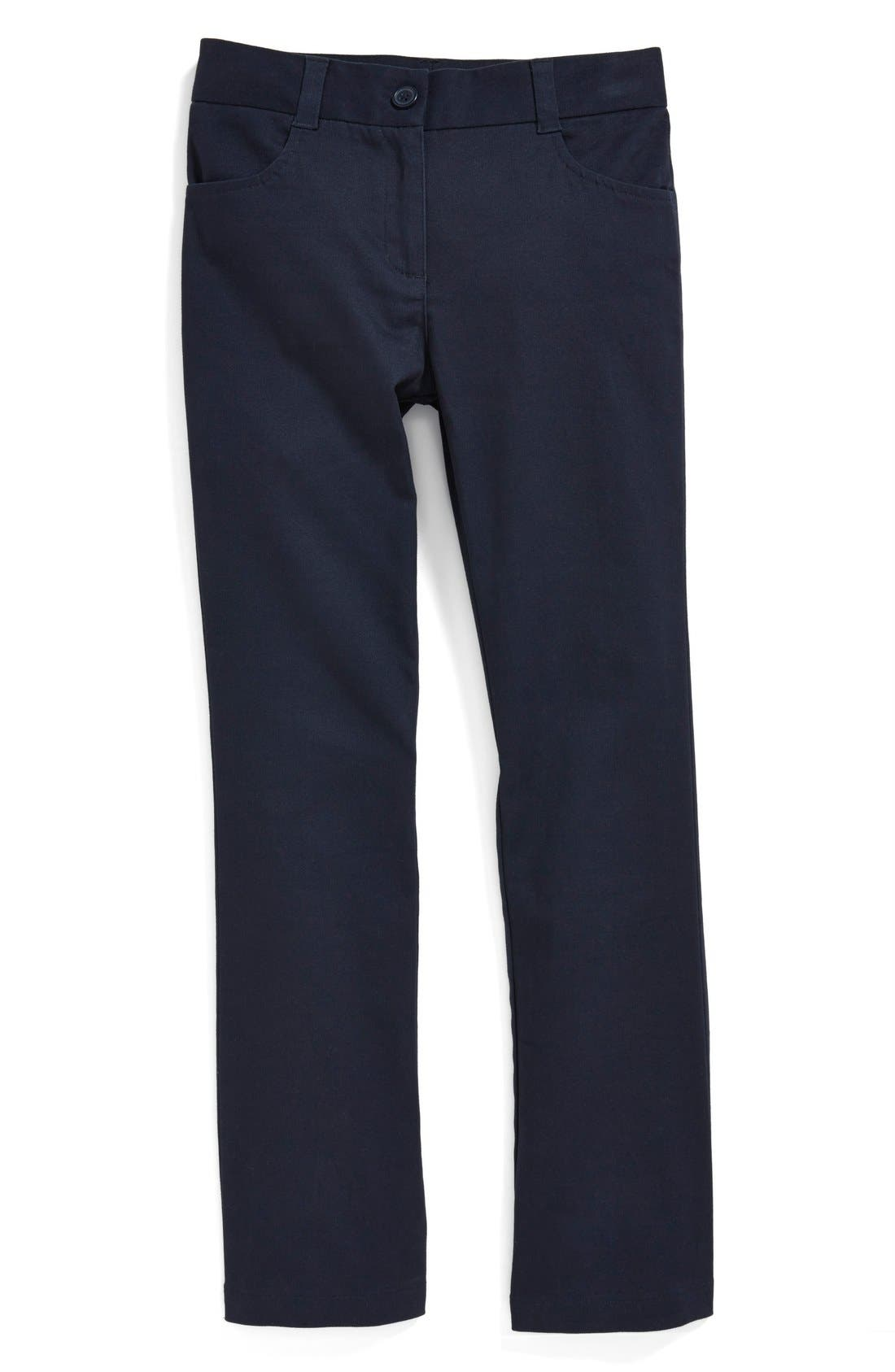 Alternate Image 1 Selected - Nordstrom Straight Fit Stretch Cotton Pants (Little Girls & Big Girls) (Online Only)
