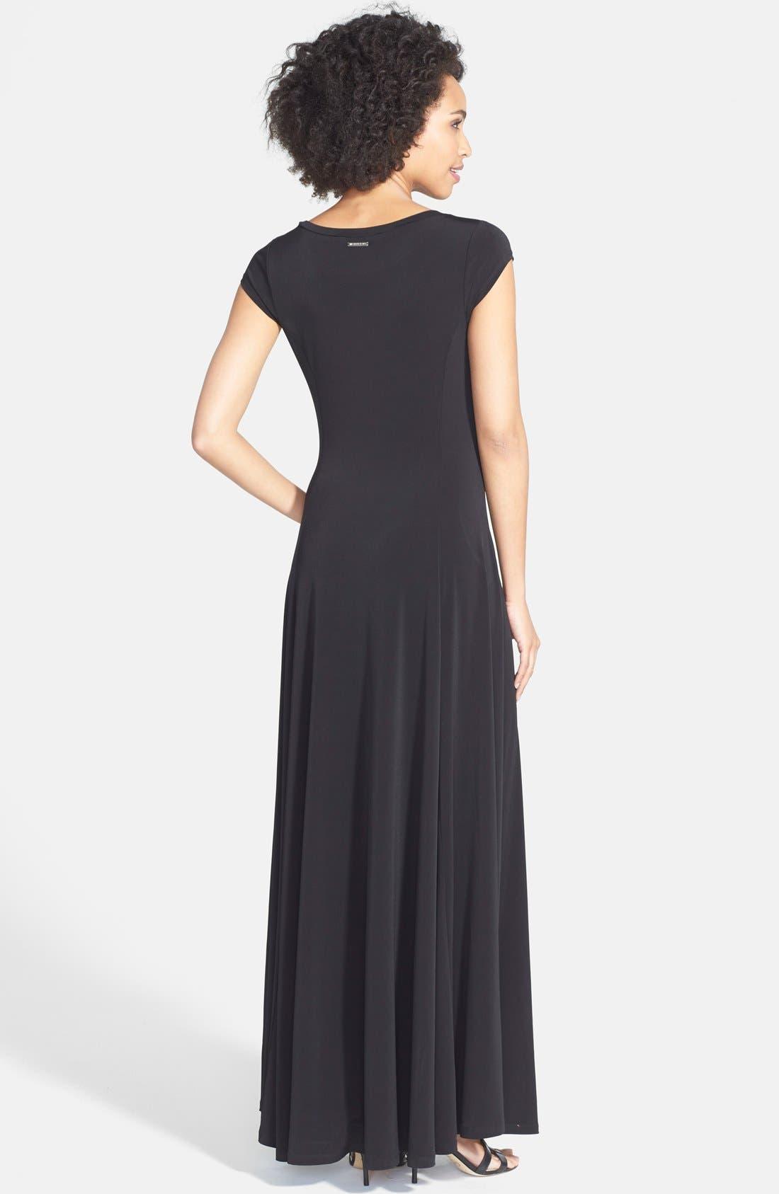 Alternate Image 2  - MICHAEL Michael Kors Cap Sleeve Stretch Jersey Maxi Dress