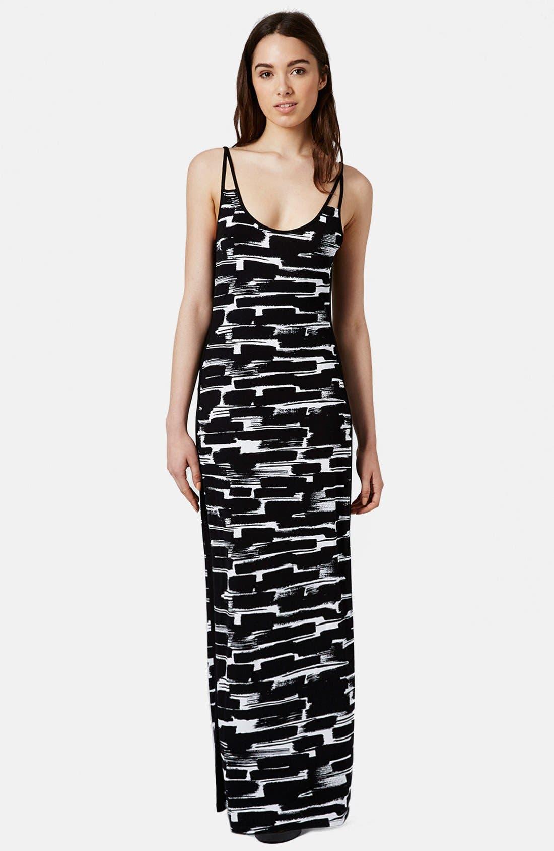 Main Image - Topshop Print Cutout Maxi Dress