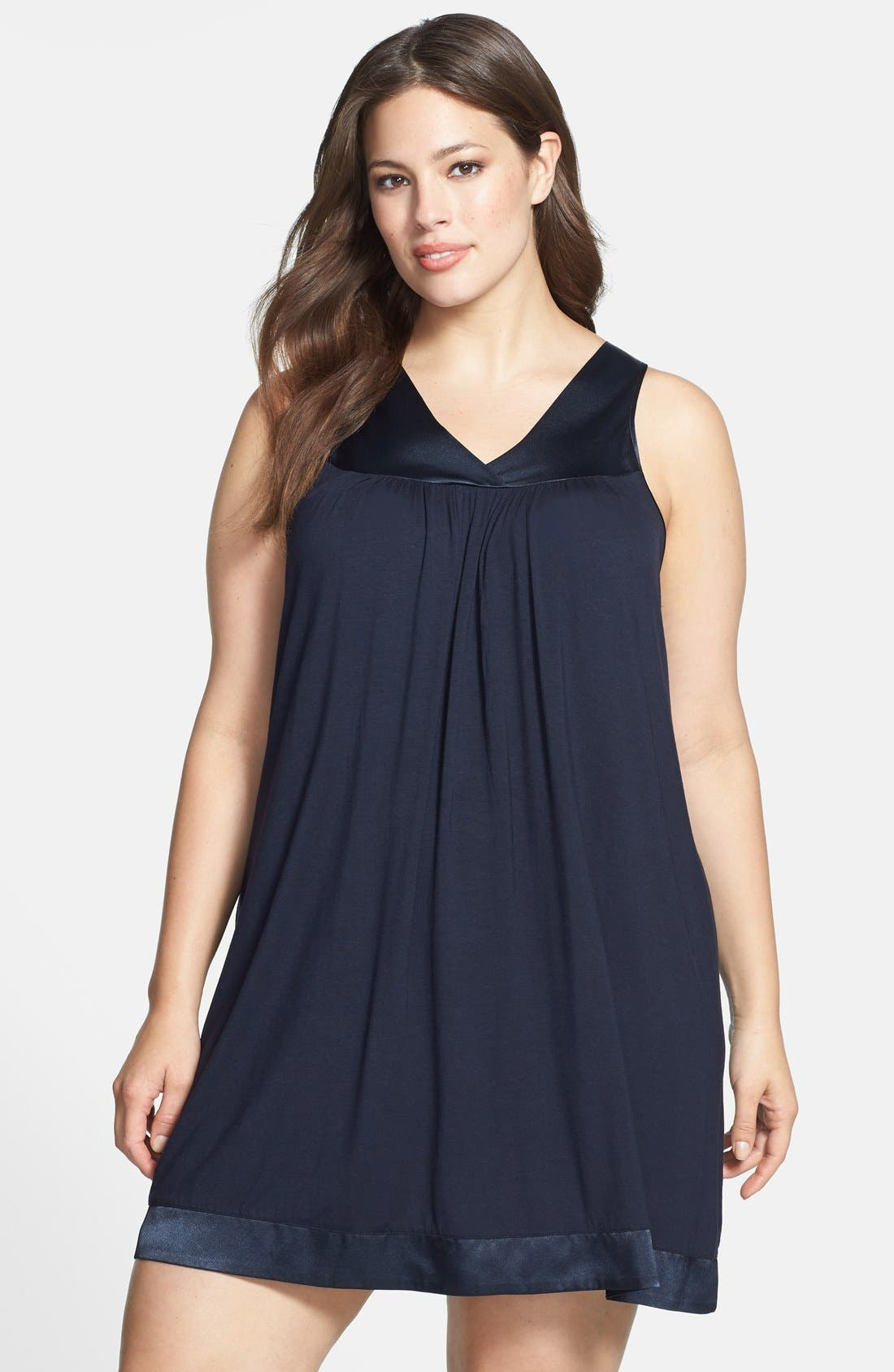 Alternate Image 1 Selected - Midnight by Carole Hochman Satin Detail Chemise (Plus Size)