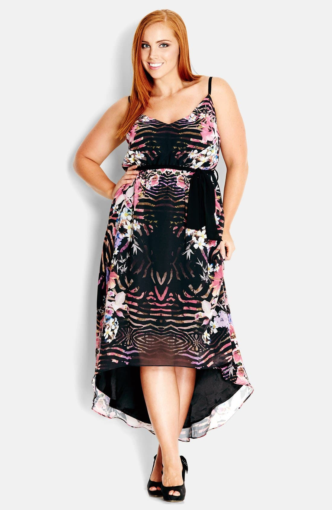 Alternate Image 1 Selected - City Chic 'Jungle Floral' V-Neck High/Low Print Sundress (Plus Size)