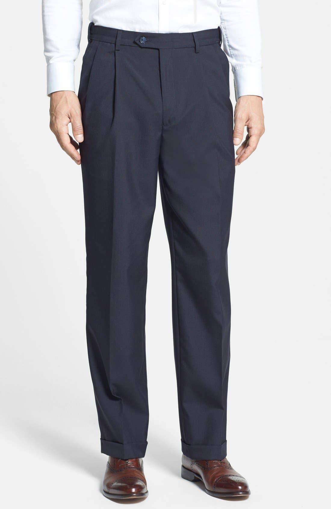 Berle Self Sizer Waist Pleated Trousers