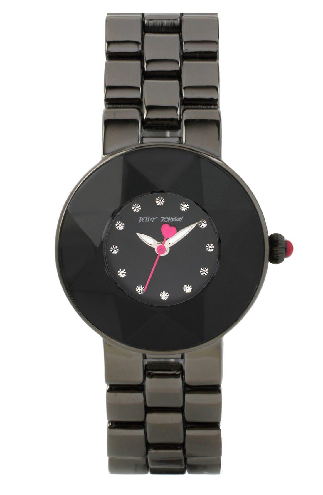 Main Image - Betsey Johnson Round Bracelet Watch, 33mm