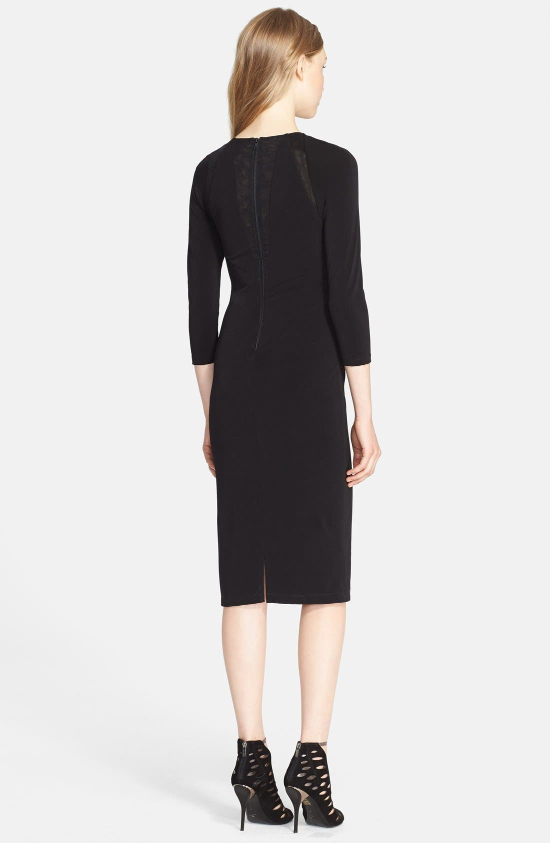 Alternate Image 2  - Alice + Olivia 'Maris' Sheer Sunburst Jersey Dress