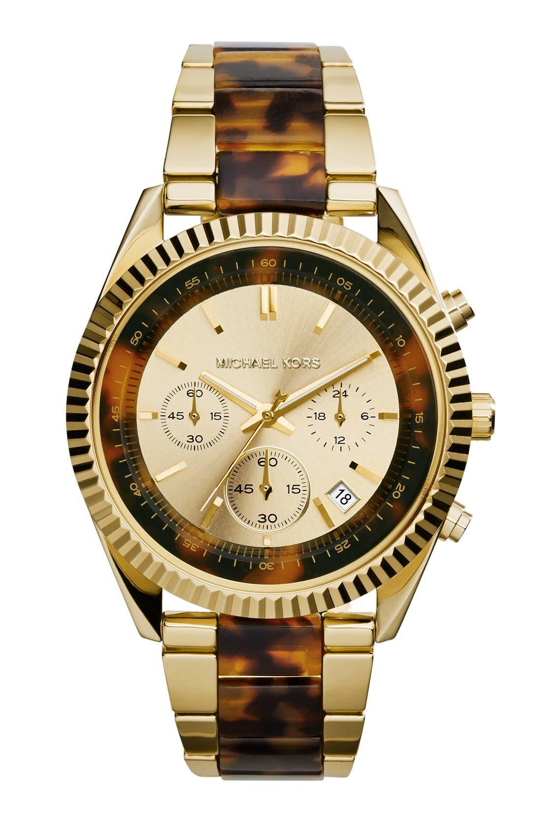 Alternate Image 1 Selected - Michael Kors 'Clarkson' Chronograph Acetate Link Bracelet Watch, 42mm