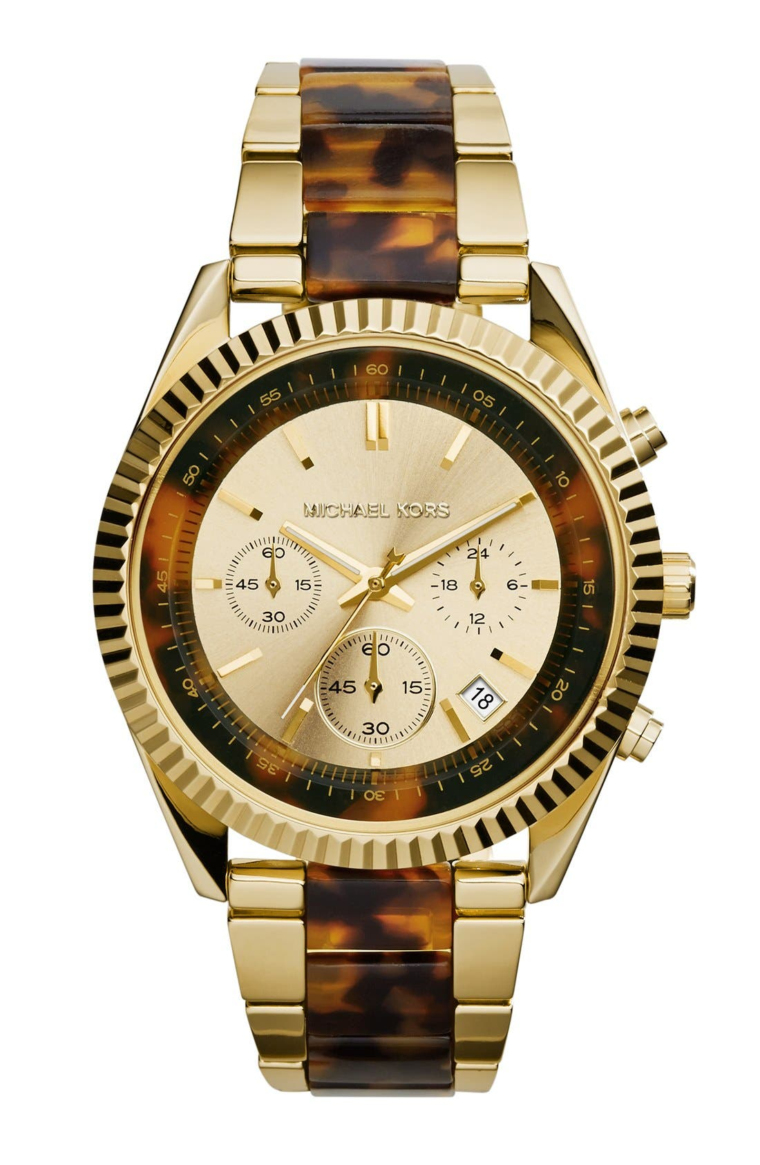 Main Image - Michael Kors 'Clarkson' Chronograph Acetate Link Bracelet Watch, 42mm