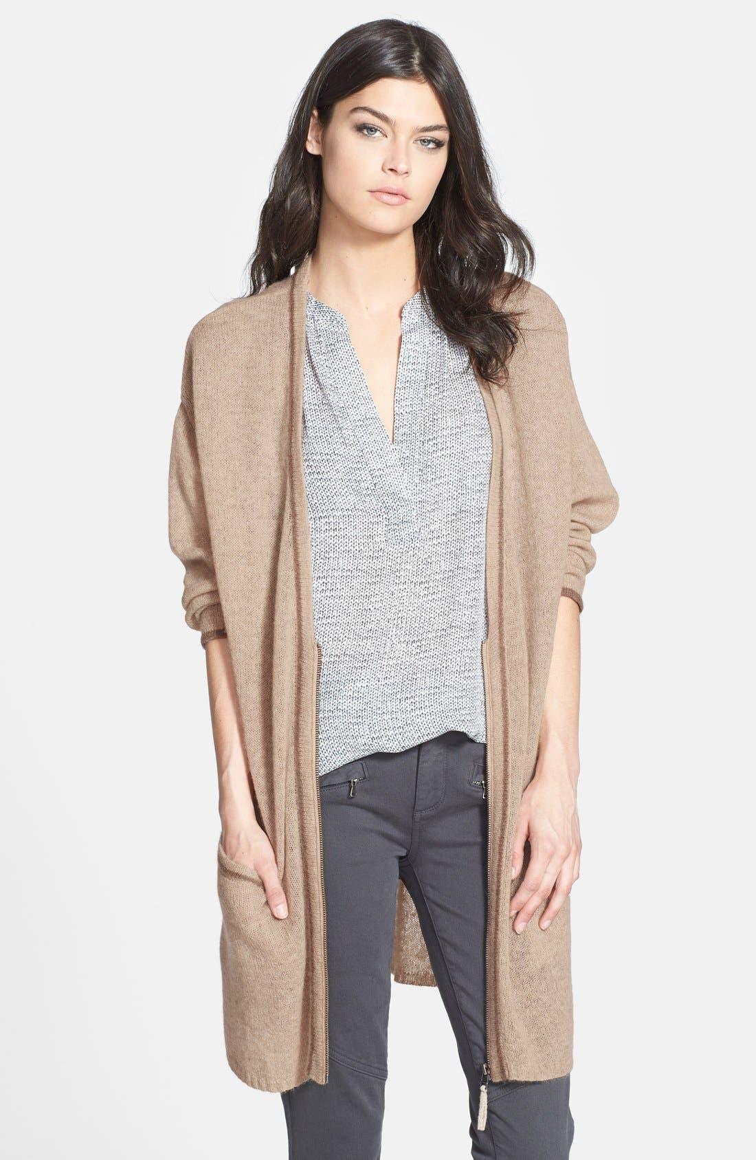 Alternate Image 1 Selected - Nordstrom Cashmere Zip Front Cardigan